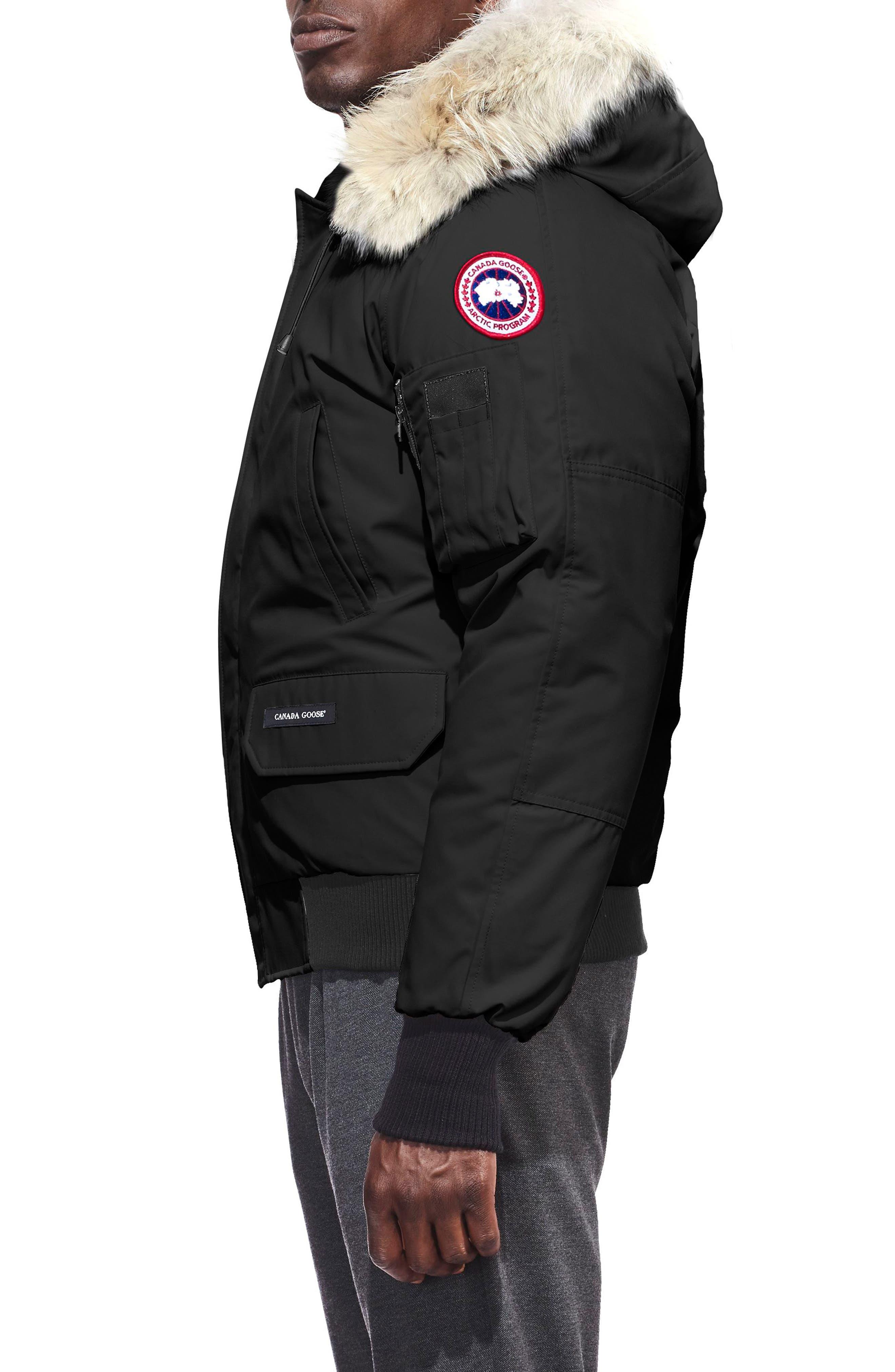 CANADA GOOSE, PBI Chilliwack Regular Fit Down Bomber Jacket with Genuine Coyote Trim, Alternate thumbnail 4, color, BLACK