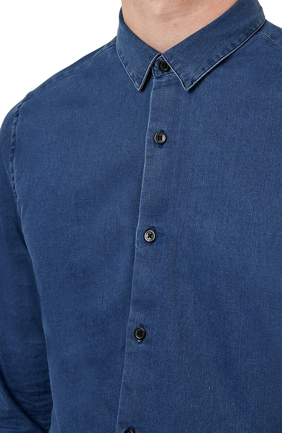 TOPMAN, Denim Shirt, Alternate thumbnail 3, color, 401