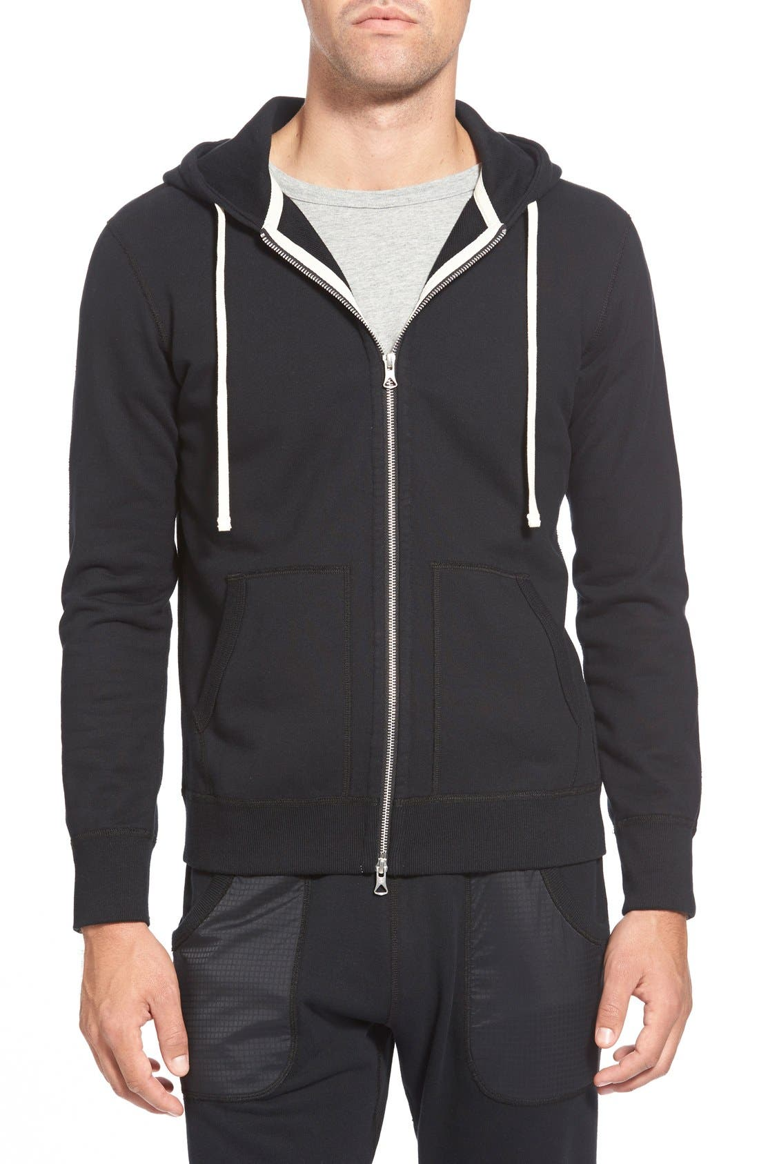 REIGNING CHAMP, Core Zip Front Hoodie, Alternate thumbnail 4, color, BLACK