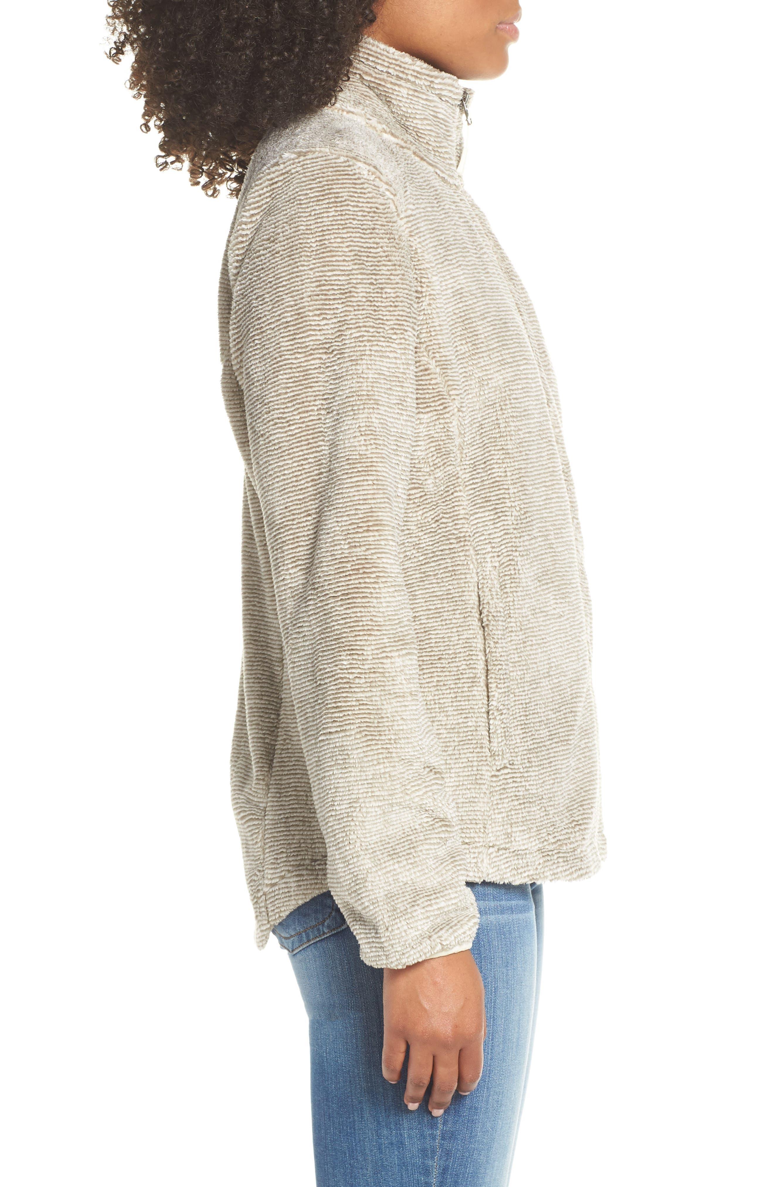 THE NORTH FACE, Osito 2 Stripe Fleece Jacket, Alternate thumbnail 4, color, GREY/ VINTAGE WHITE STRIPE