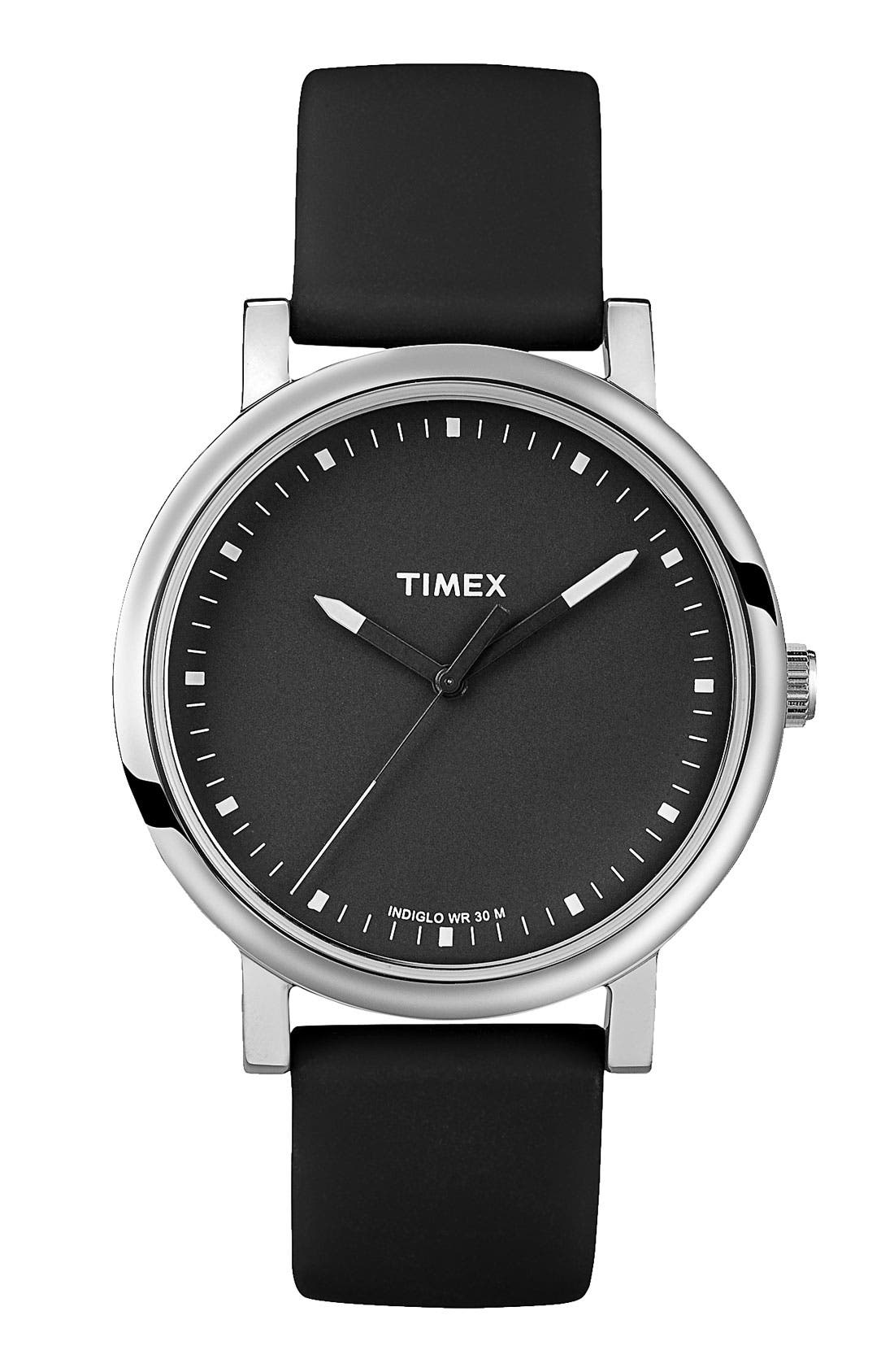 TIMEX<SUP>®</SUP>, 'Easy Reader' Silicone Strap Watch, Main thumbnail 1, color, 001