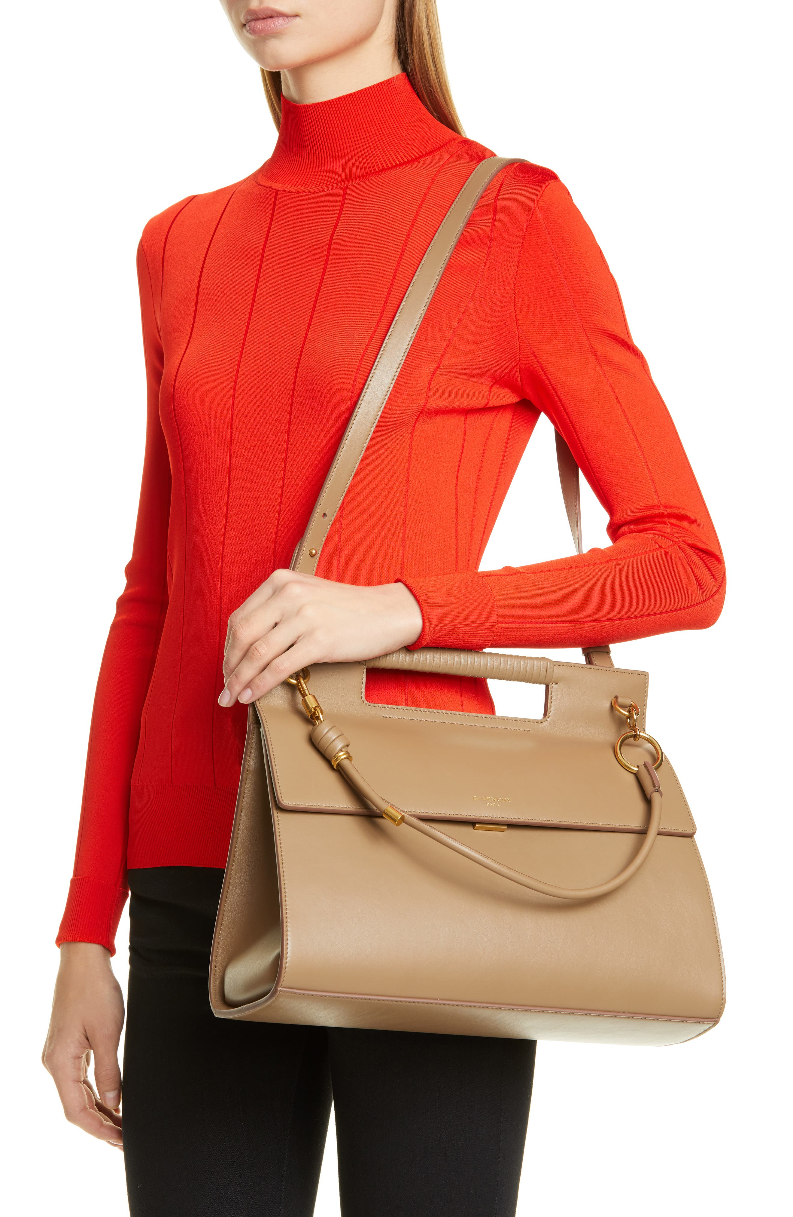 GIVENCHY, Whip Large Leather Satchel, Alternate thumbnail 2, color, TAUPE