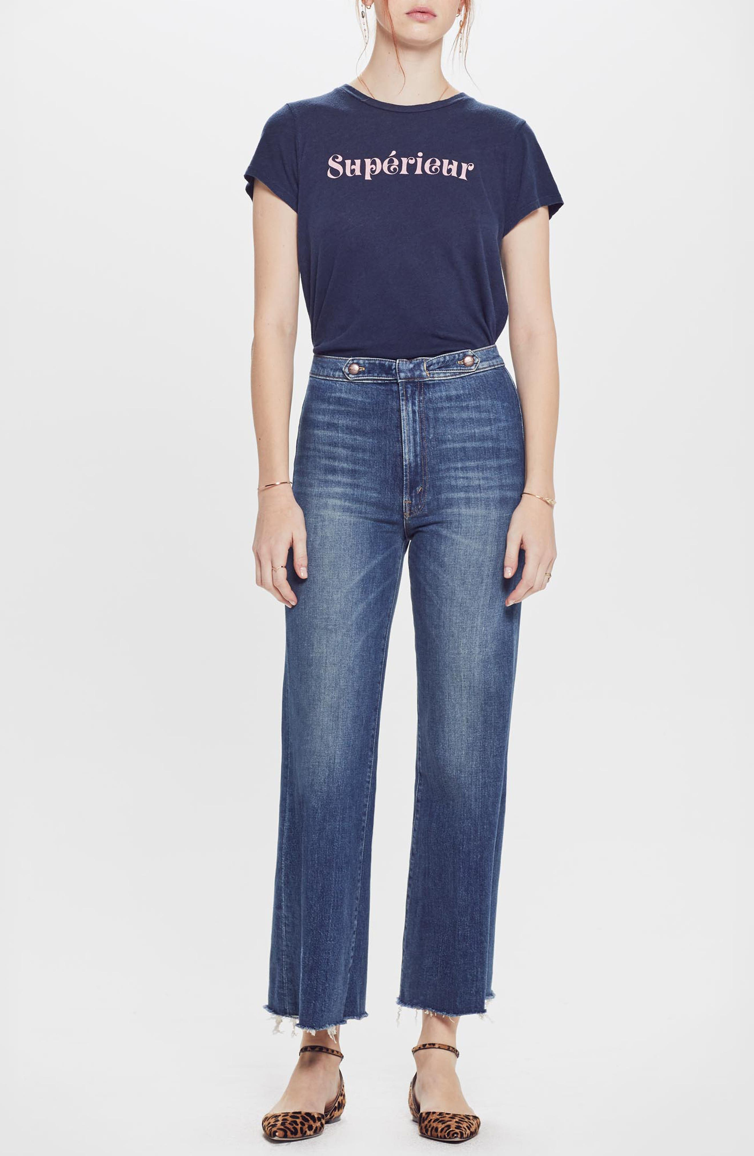 MOTHER, The Loop De Loop Frayed Wide Leg Jeans, Alternate thumbnail 6, color, JUST ONE SIP