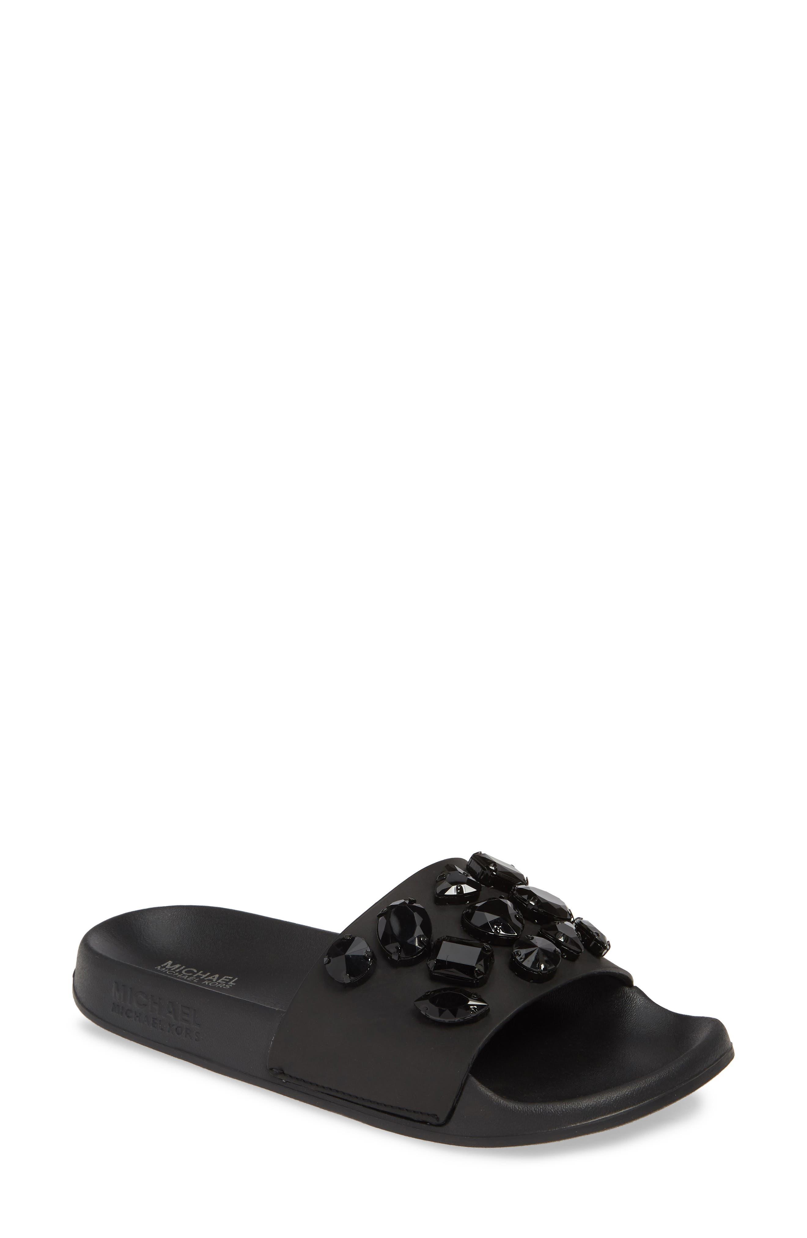 MICHAEL MICHAEL KORS Gilmore Slide Sandal, Main, color, BLACK