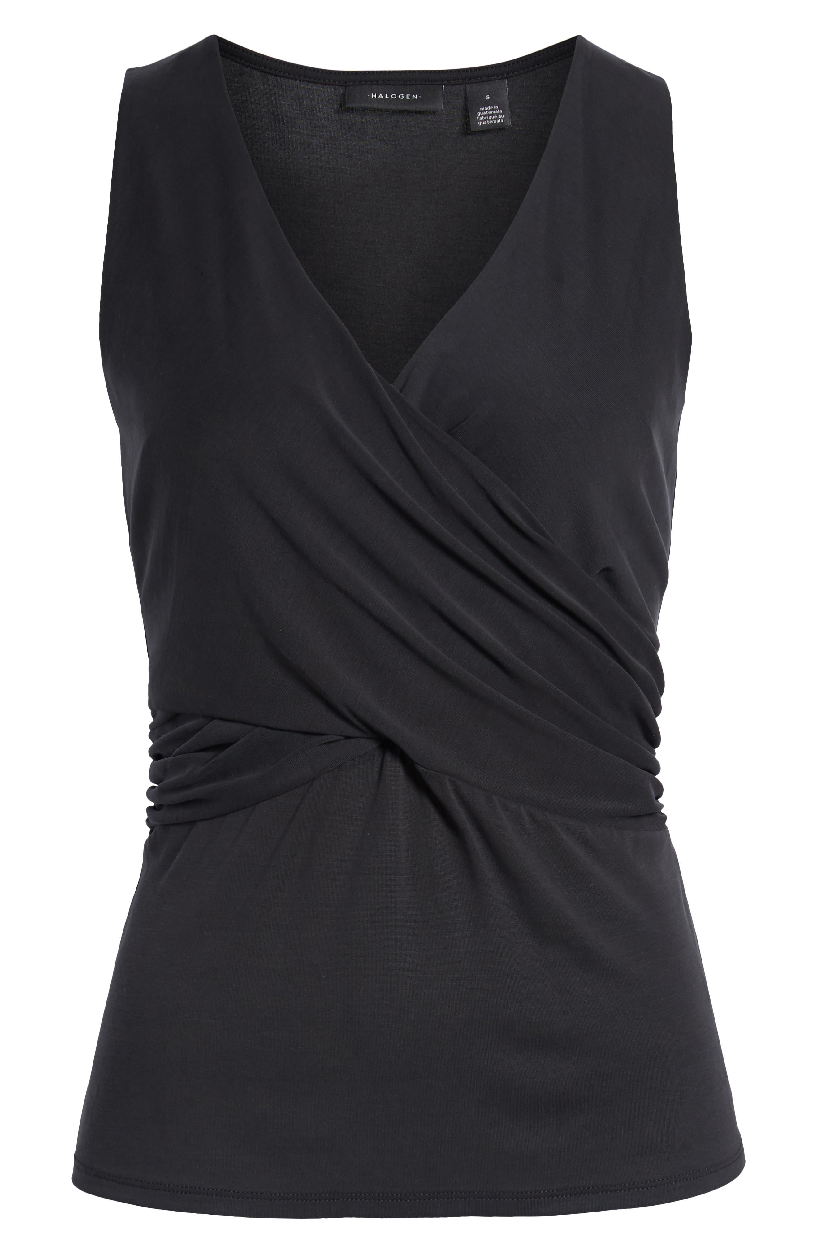 HALOGEN<SUP>®</SUP>, Cross Front Knit Tank, Alternate thumbnail 6, color, BLACK