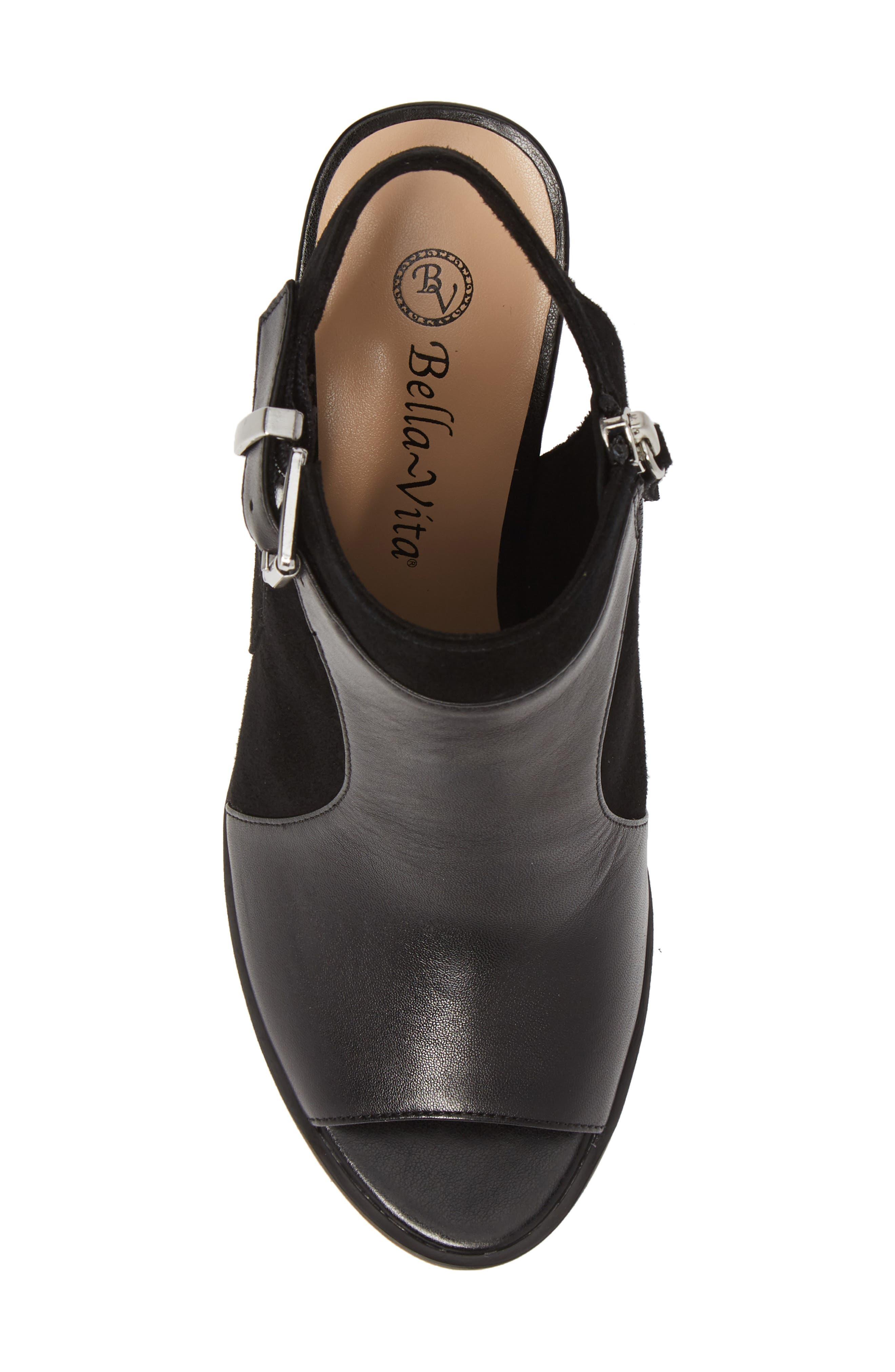 BELLA VITA, Kellan Mixed Finish Sandal, Alternate thumbnail 5, color, BLACK LEATHER/ SUEDE