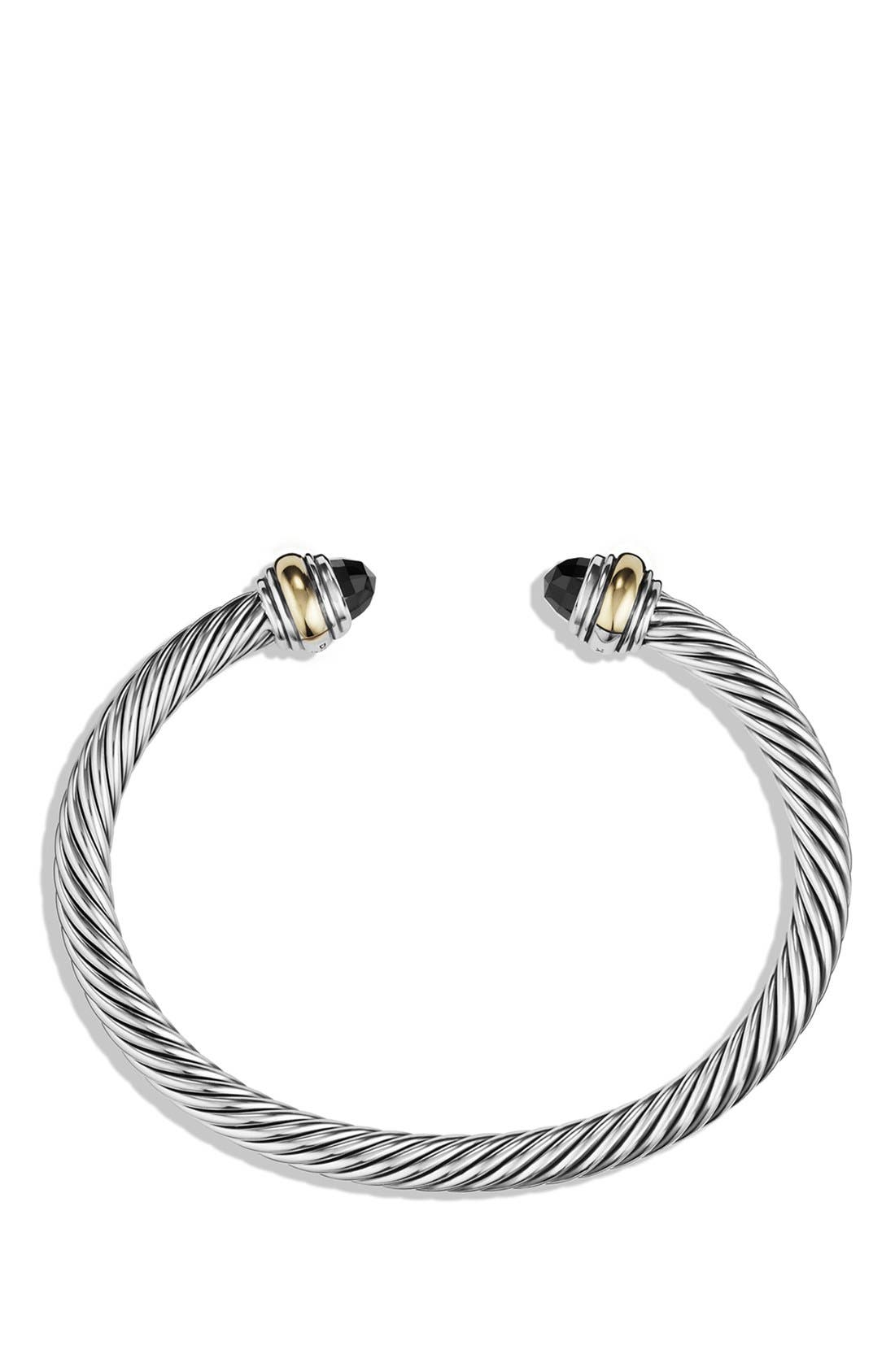 DAVID YURMAN, Cable Classics Bracelet with Semiprecious Stones & 14K Gold Accent, 5mm, Alternate thumbnail 3, color, BLACK ONYX