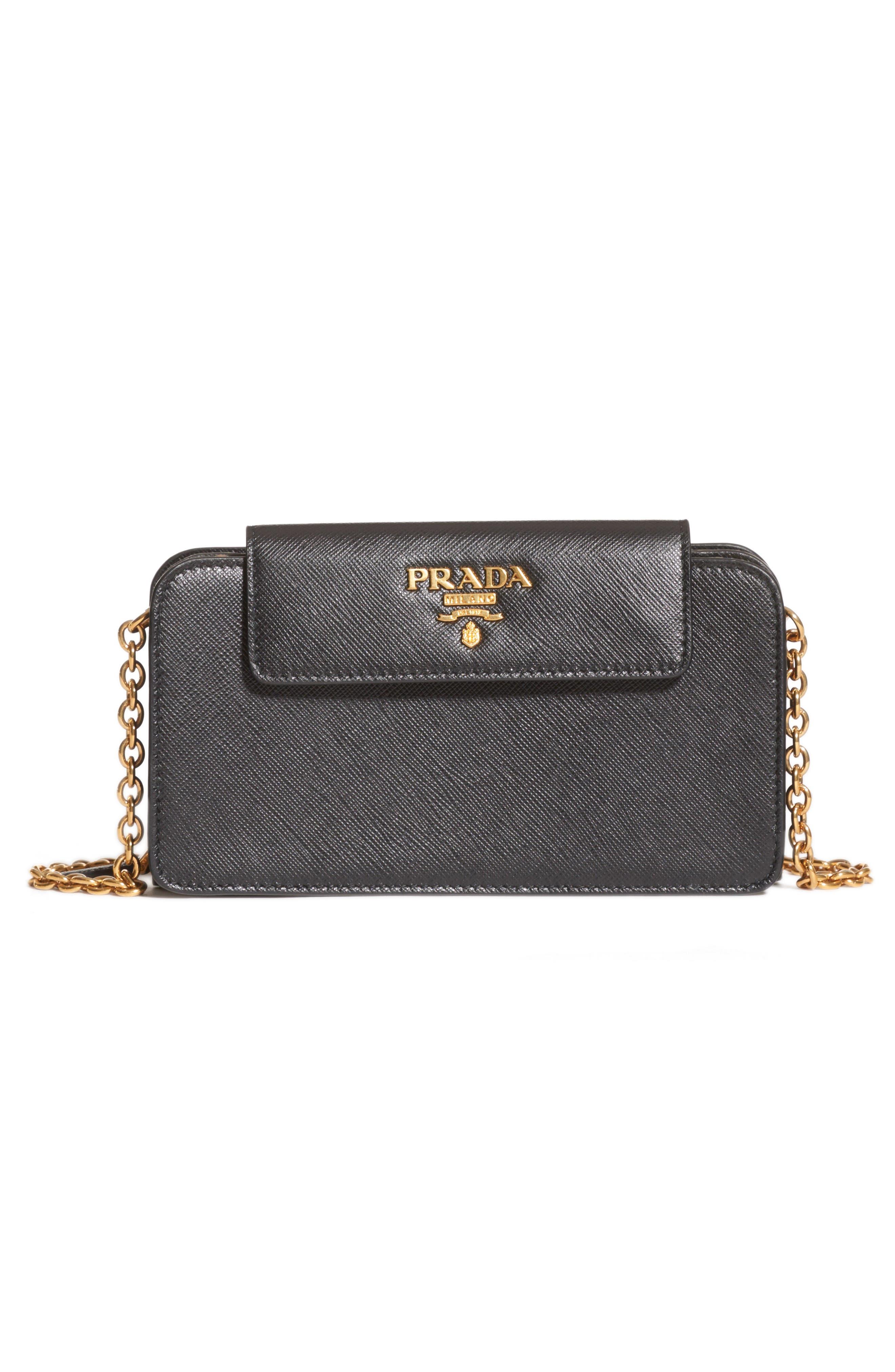 PRADA, Saffiano Leather Wallet on a Chain, Main thumbnail 1, color, NERO