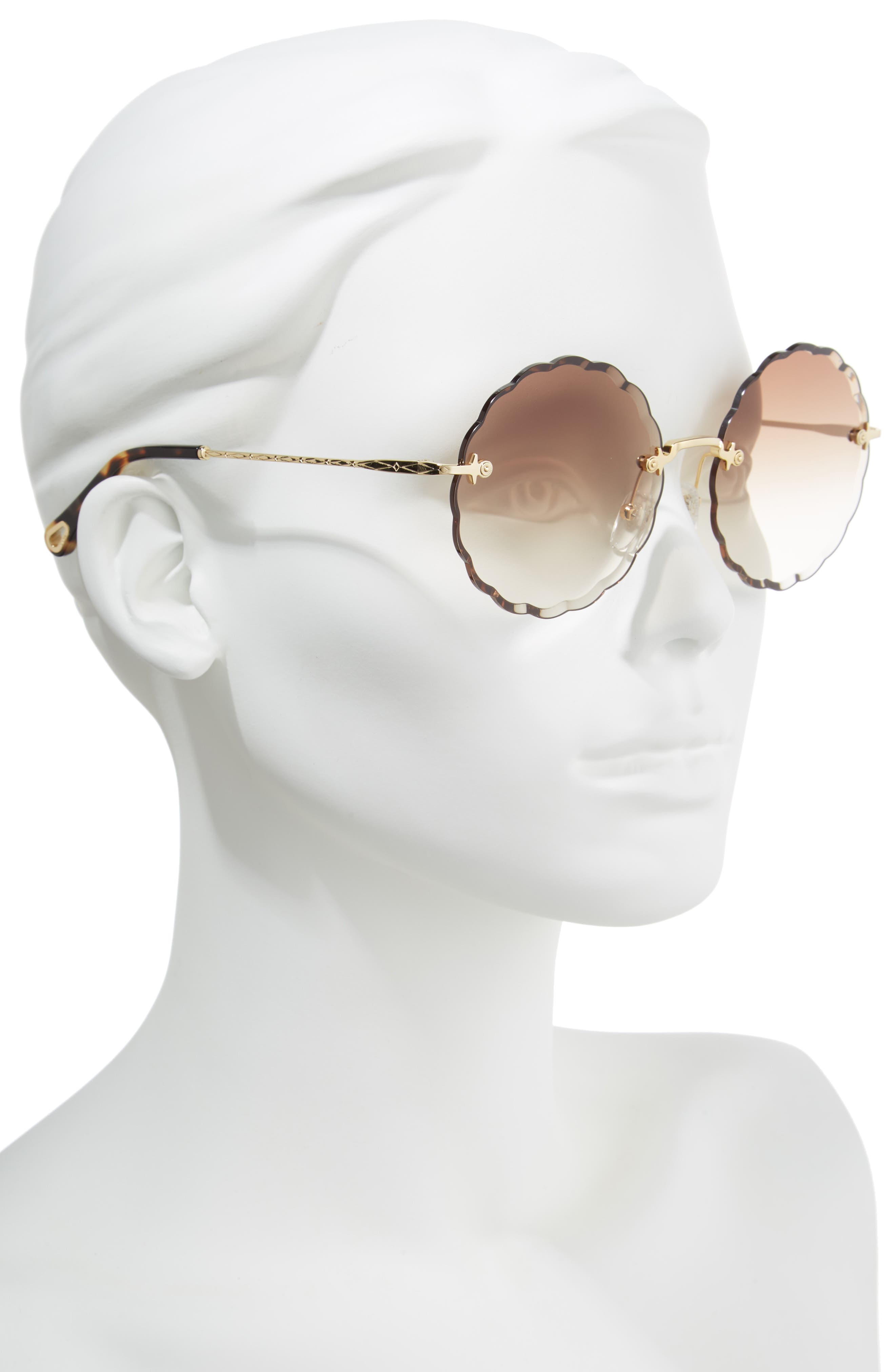 CHLOÉ, Rosie 60mm Scalloped Rimless Sunglasses, Alternate thumbnail 2, color, GOLD/ GRADIENT BROWN