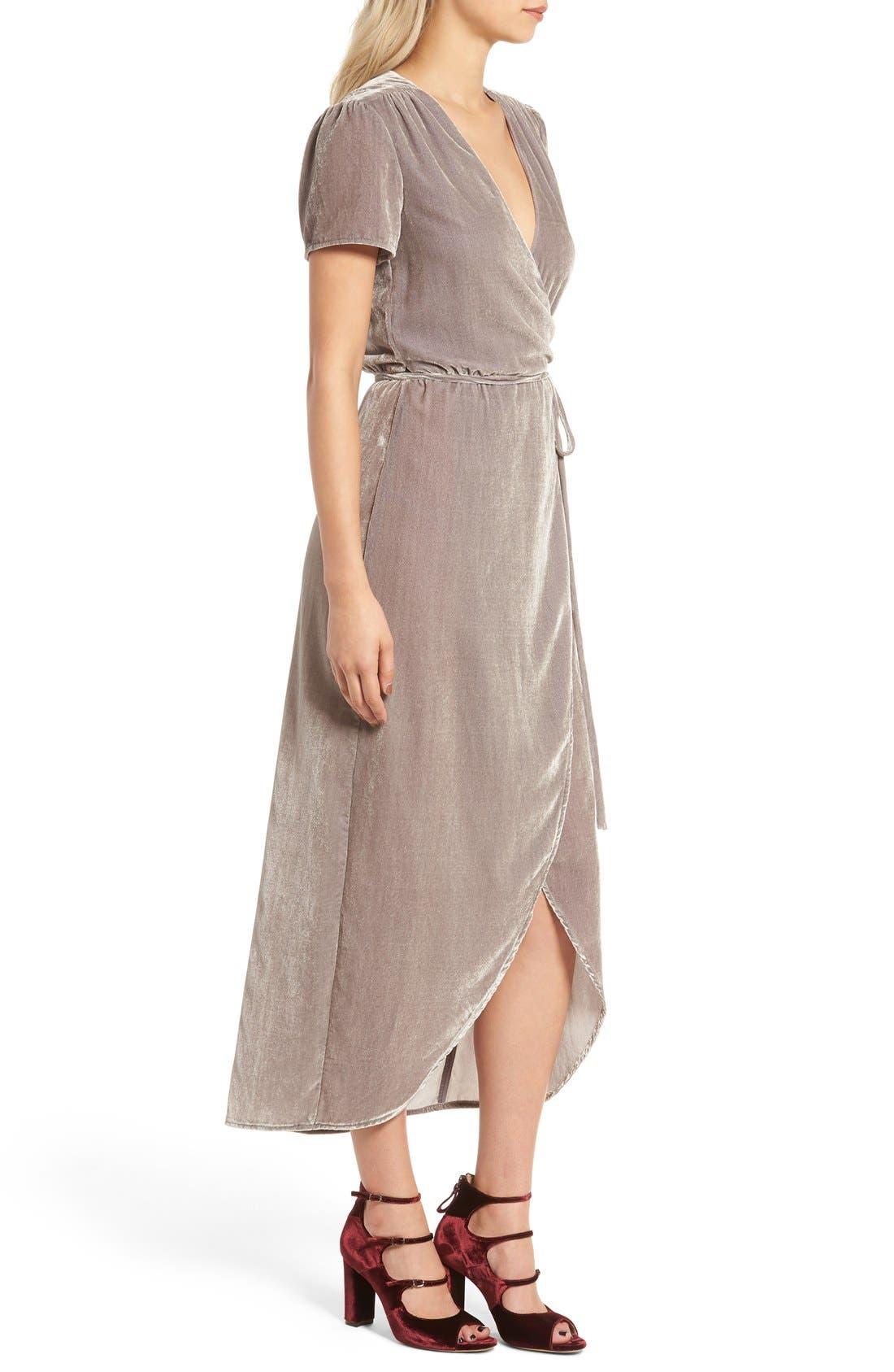 WAYF, Next to You Velvet Wrap Dress, Alternate thumbnail 7, color, 051