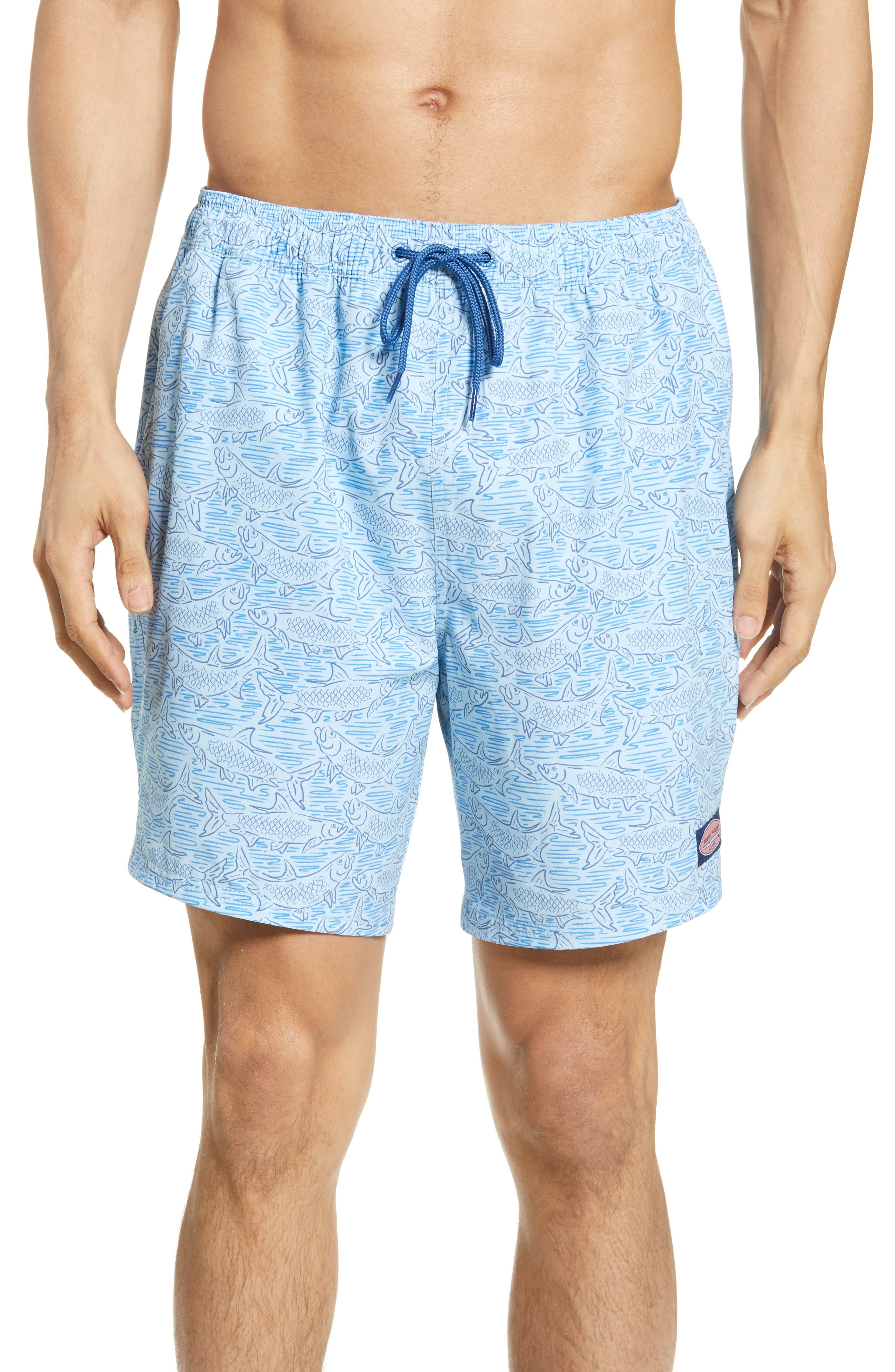 VINEYARD VINES Chappy Tarpon Stretch Swim Trunks, Main, color, JAKE BLUE