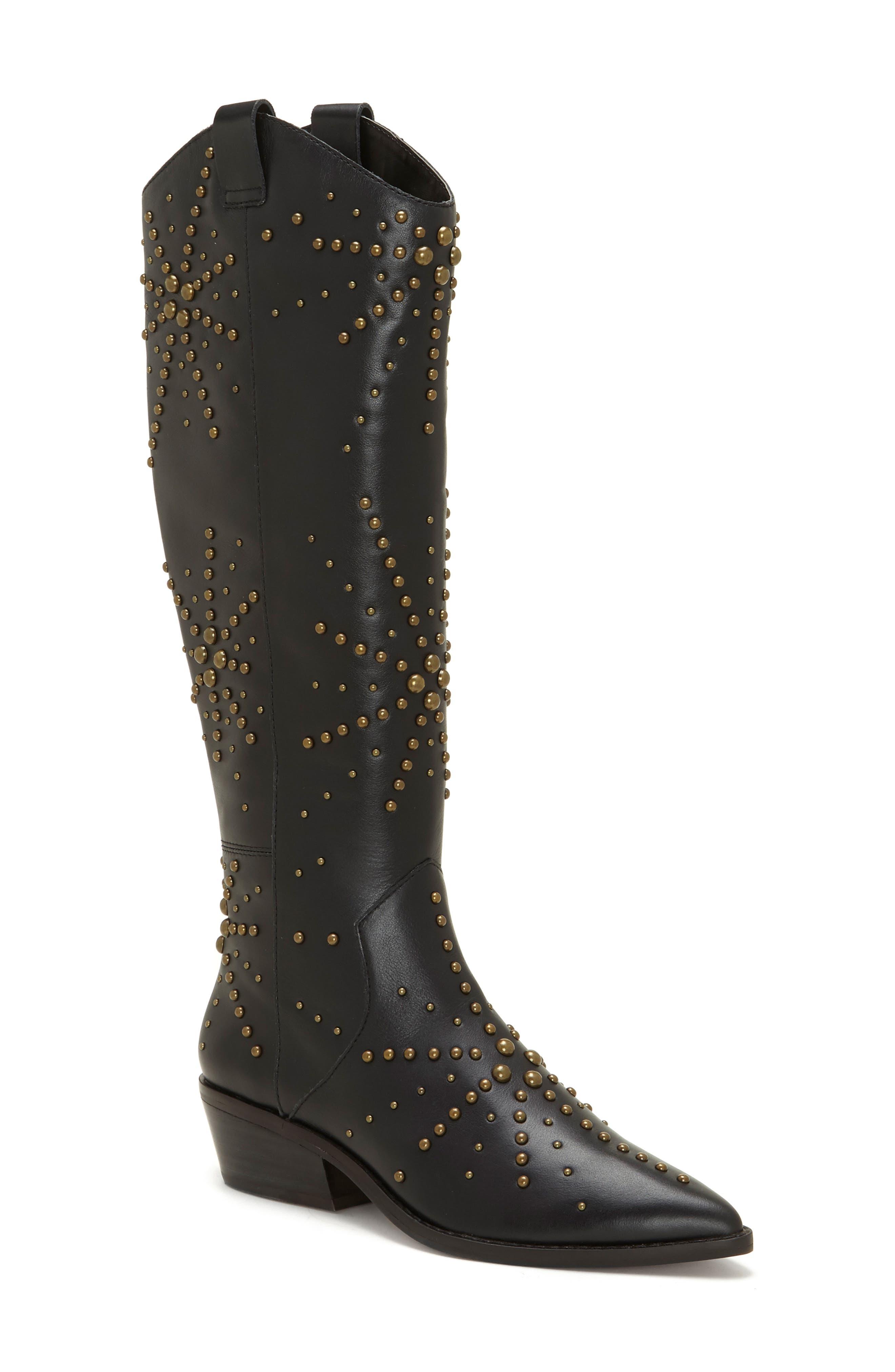 1.state Sabylla Studded Western Boot- Black