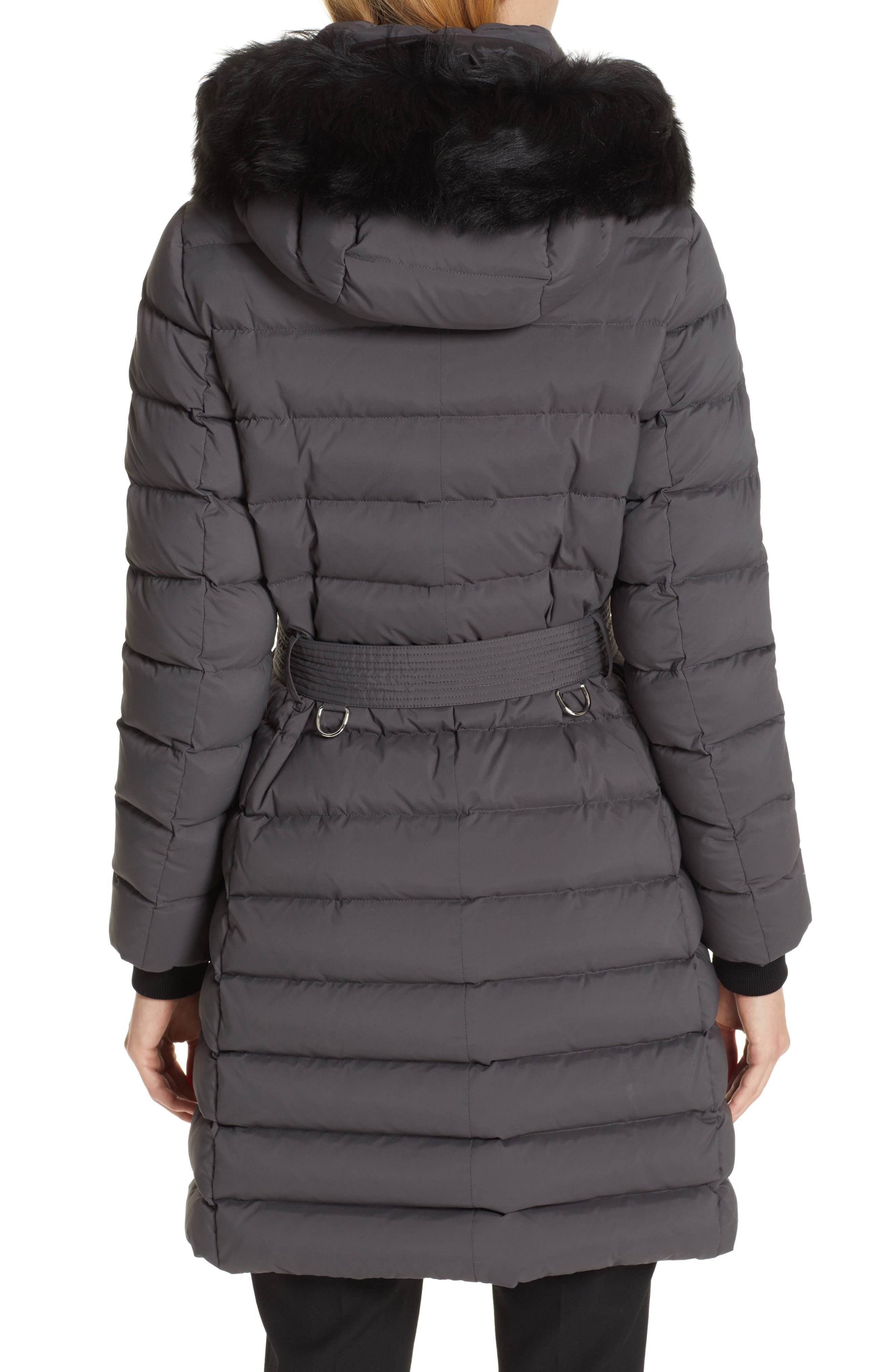 BURBERRY, Limehouse Quilted Down Puffer Coat with Removable Genuine Shearling Trim, Alternate thumbnail 4, color, MID GREY