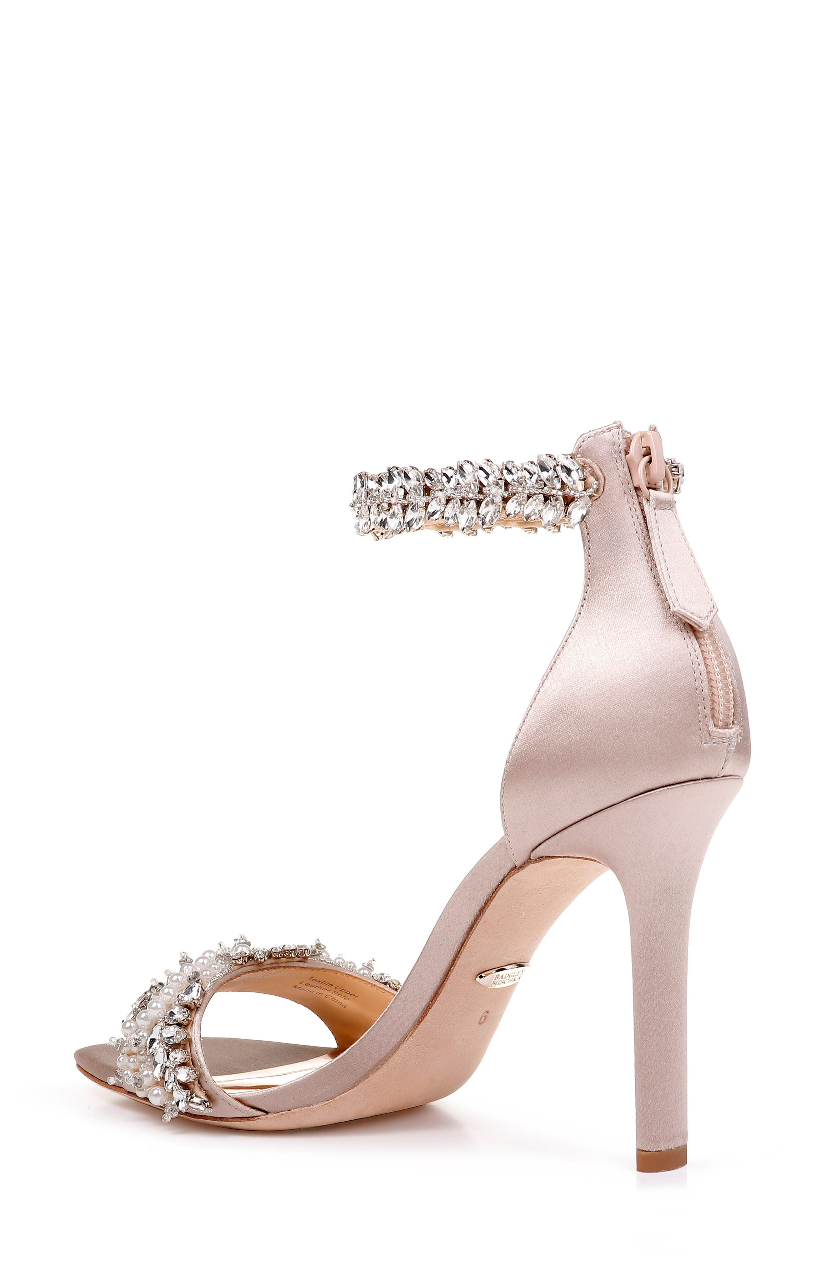 BADGLEY MISCHKA COLLECTION, Badgley Mischka Fiorenza Crystal & Imitation Pearl Embellished Sandal, Alternate thumbnail 2, color, BEIGE SATIN