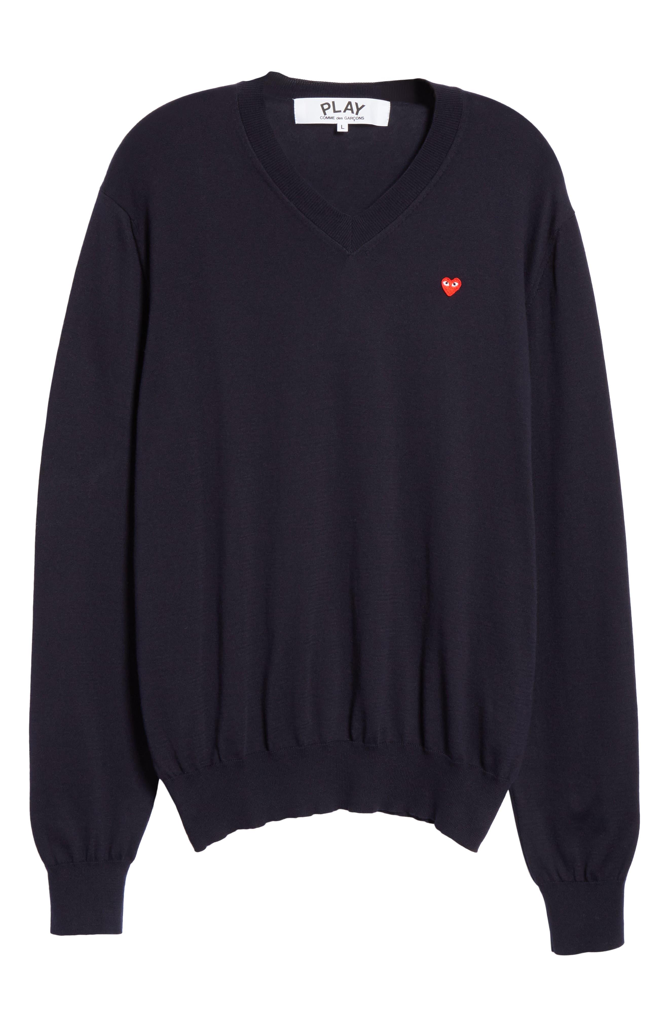 COMME DES GARÇONS PLAY, Cotton Logo Sweater, Alternate thumbnail 6, color, NAVY