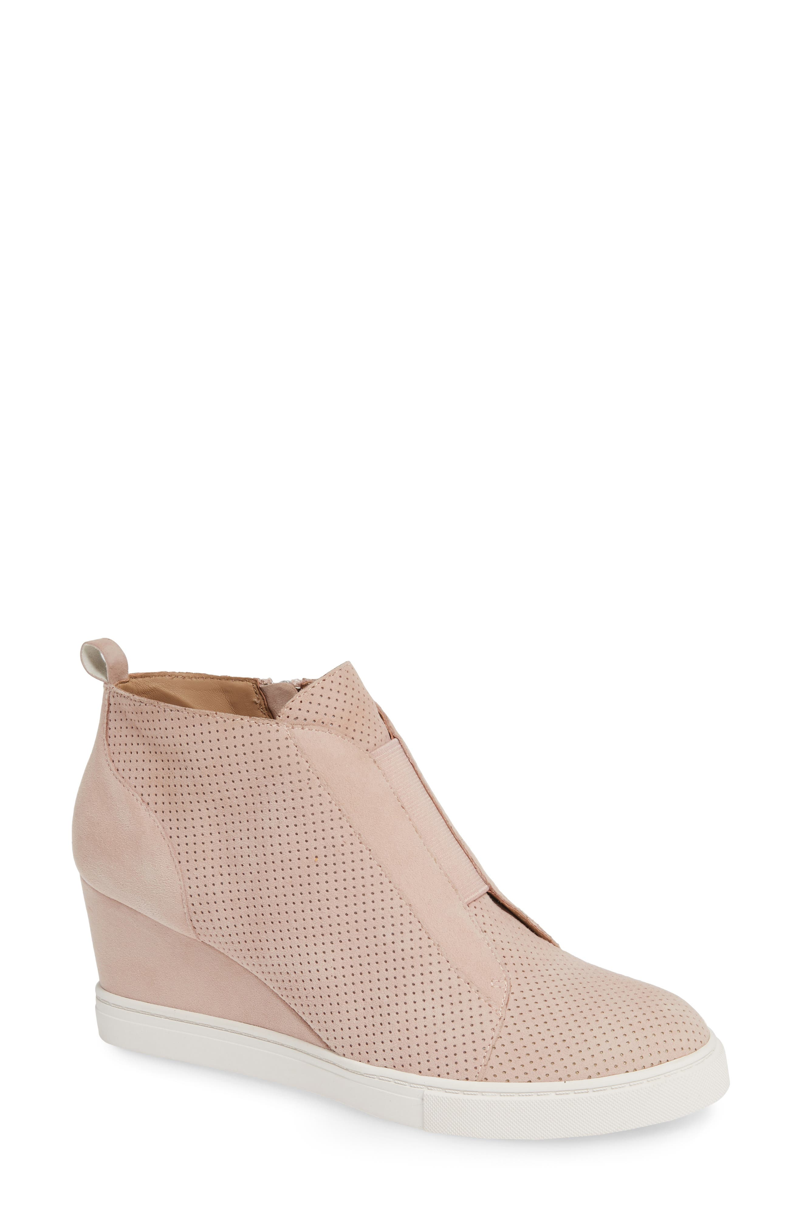 LINEA PAOLO, Felicia Wedge Bootie, Main thumbnail 1, color, BLUSH PERFORATED SUEDE