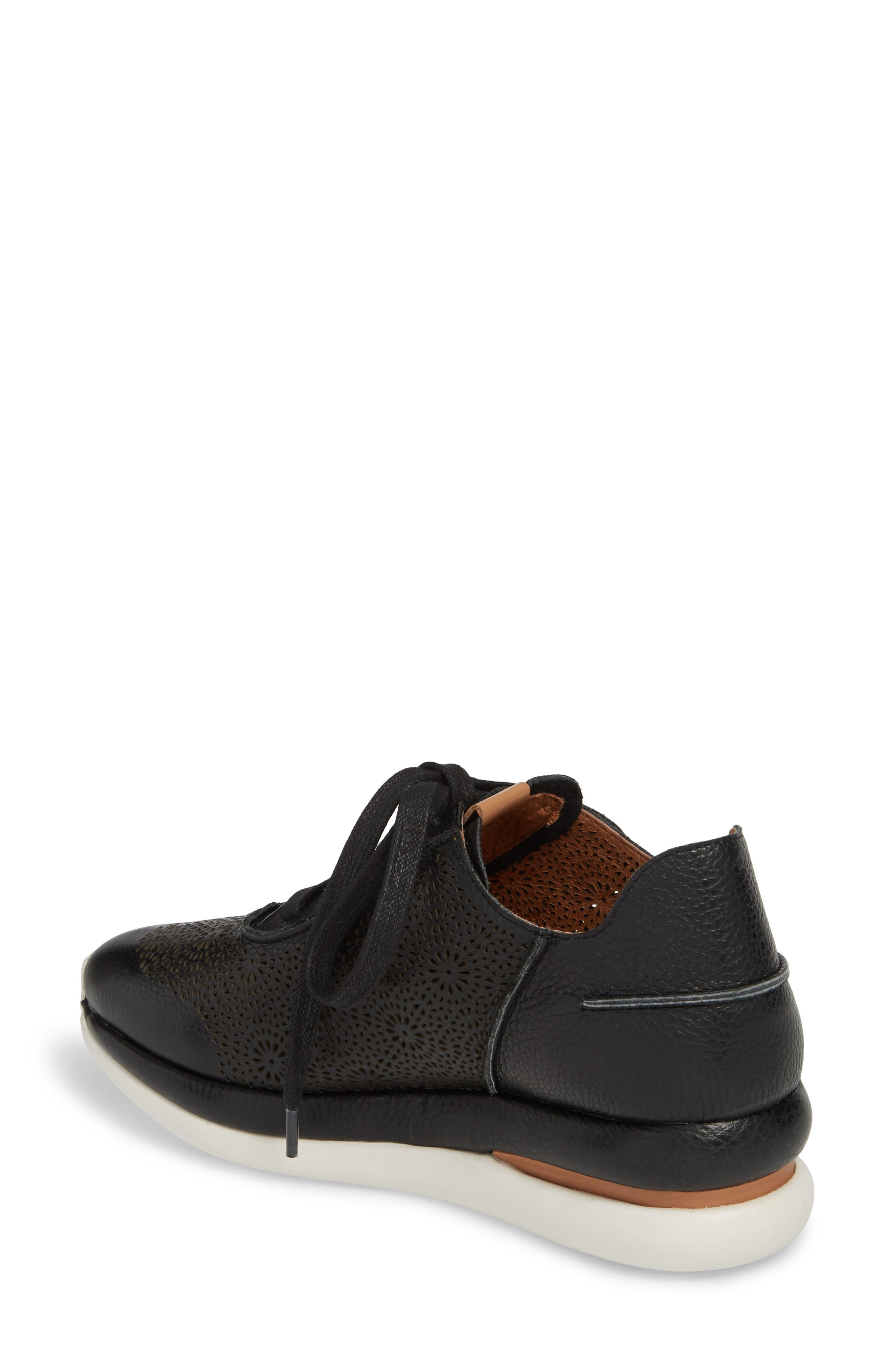 GENTLE SOULS BY KENNETH COLE, Raina II Sneaker, Alternate thumbnail 2, color, BLACK LEATHER