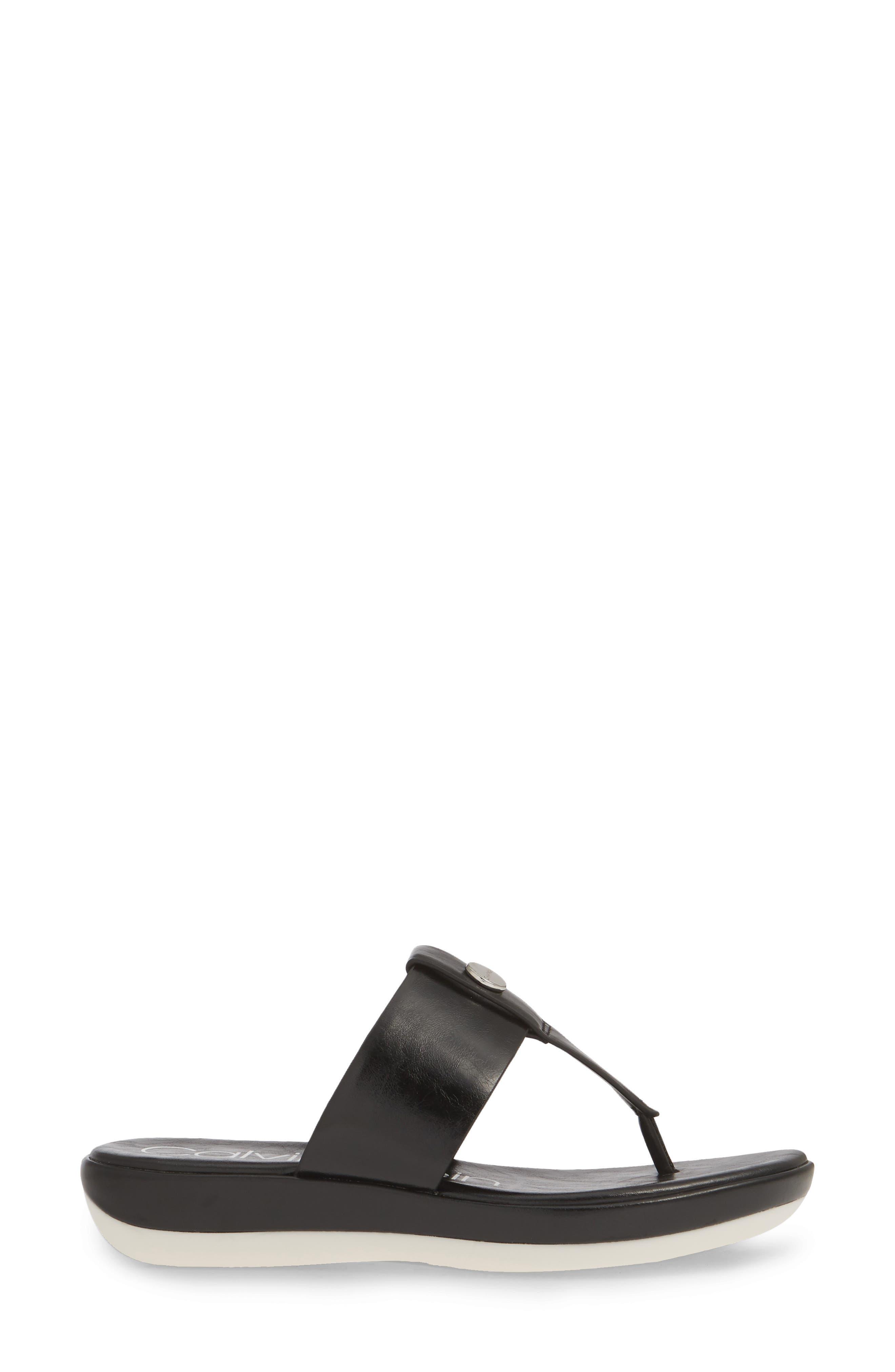 CALVIN KLEIN, Kimmy Platform Flip Flop, Alternate thumbnail 3, color, BLACK LEATHER