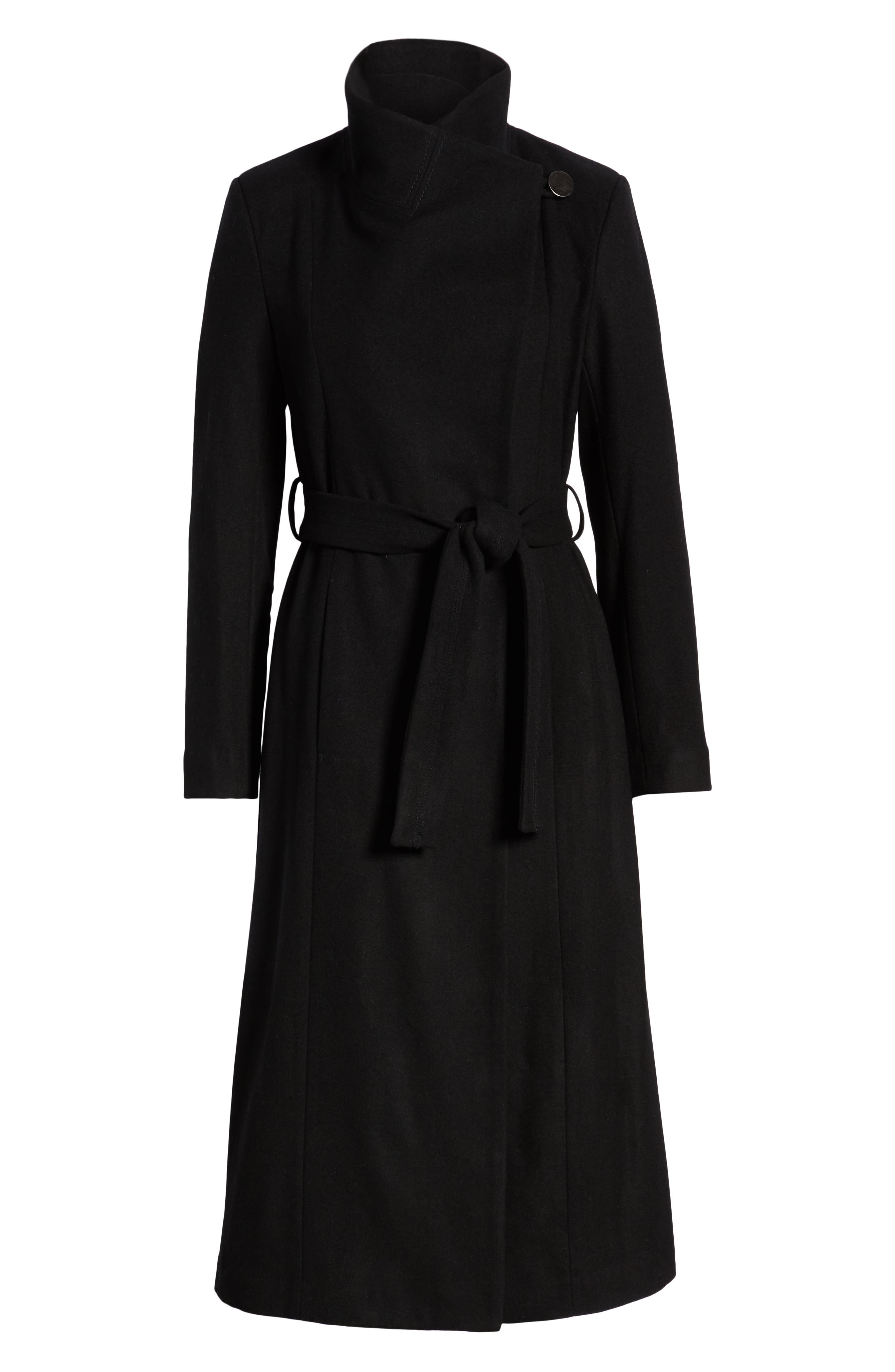 KENNETH COLE NEW YORK, Fencer Melton Wool Maxi Coat, Alternate thumbnail 6, color, 001