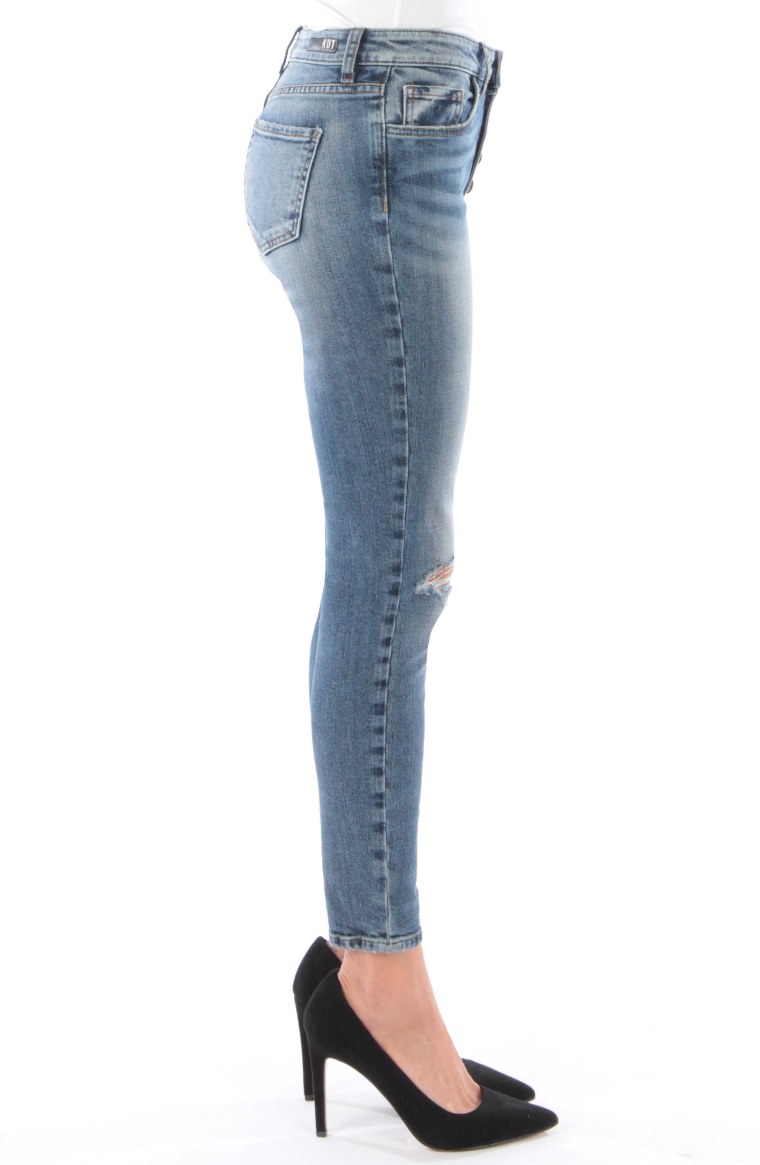 KUT FROM THE KLOTH, Donna Ripped High Waist Ankle Skinny Jeans, Alternate thumbnail 4, color, 402