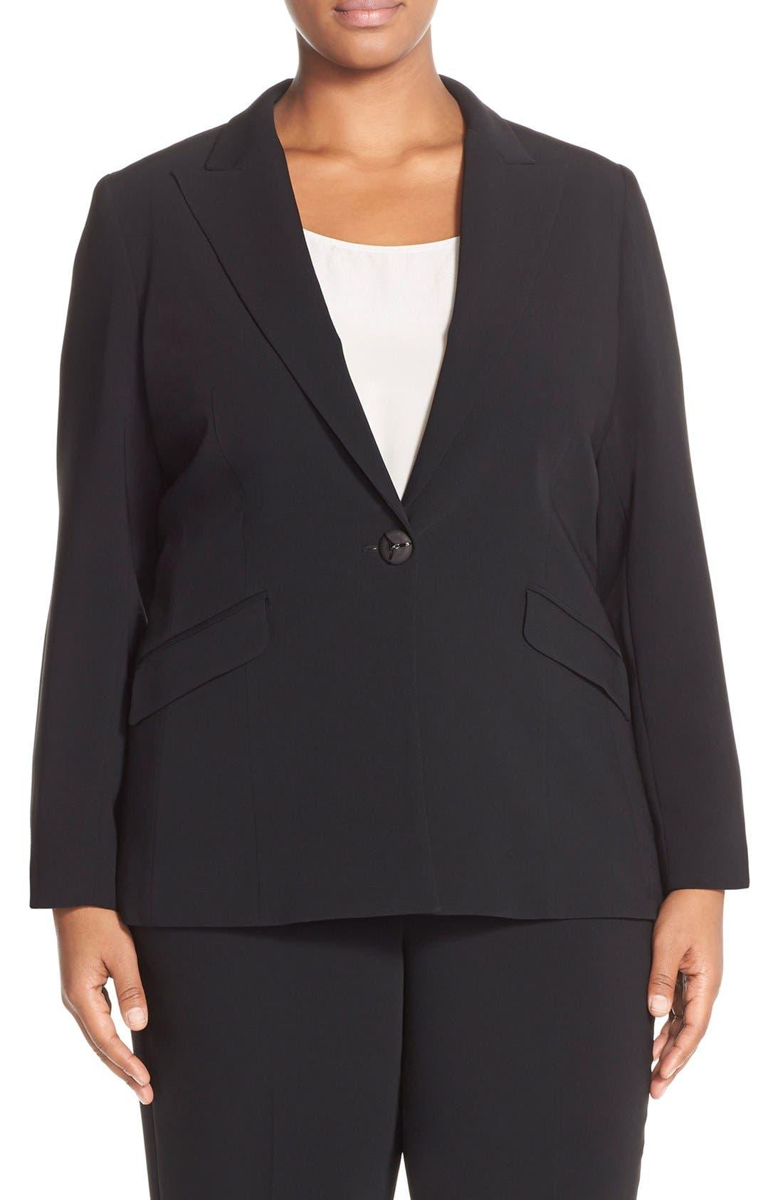 LOUBEN, Peak Lapel Suit Jacket, Main thumbnail 1, color, BLACK