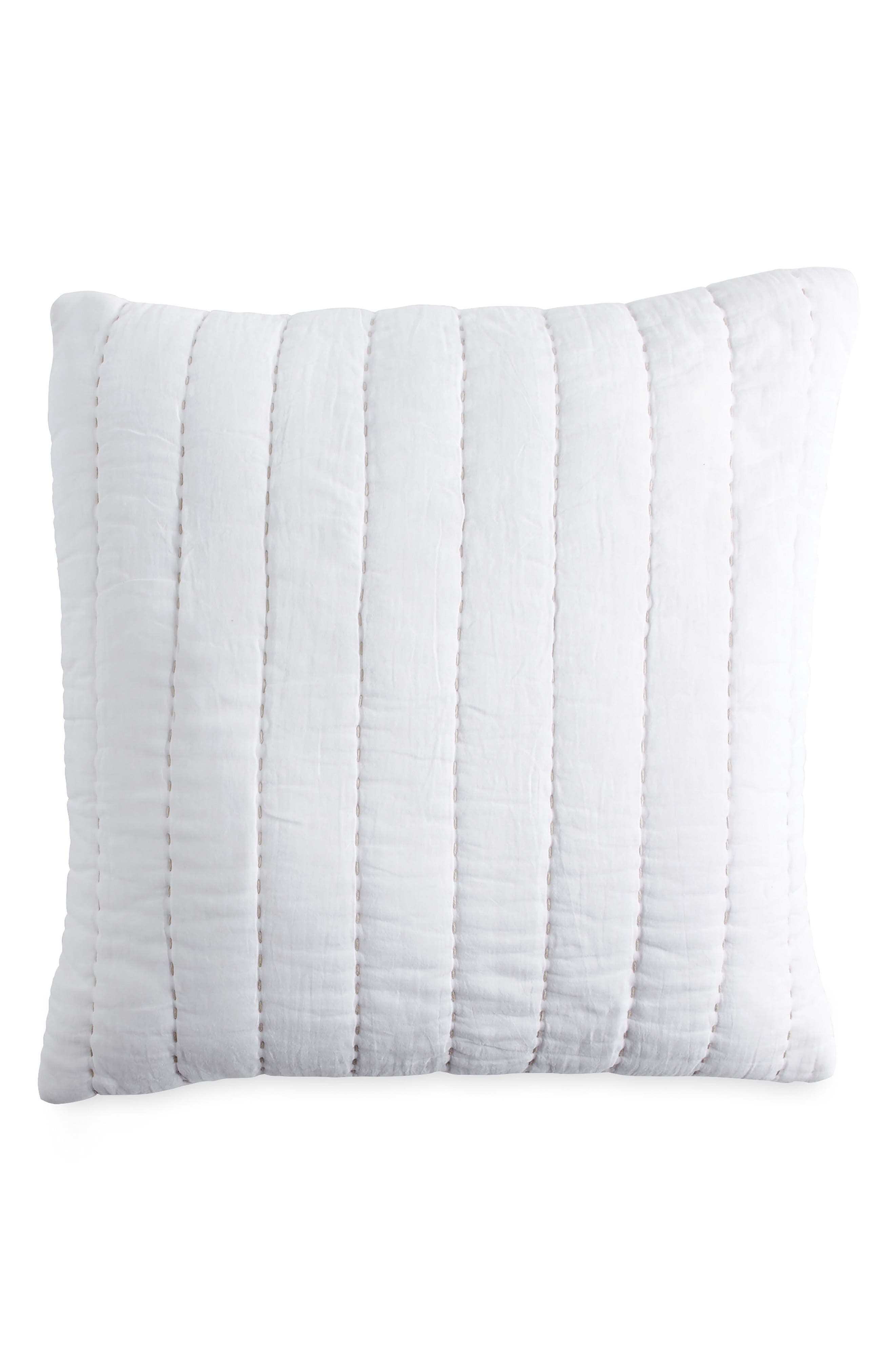 DKNY, Quilted Accent Pillow, Main thumbnail 1, color, WHITE