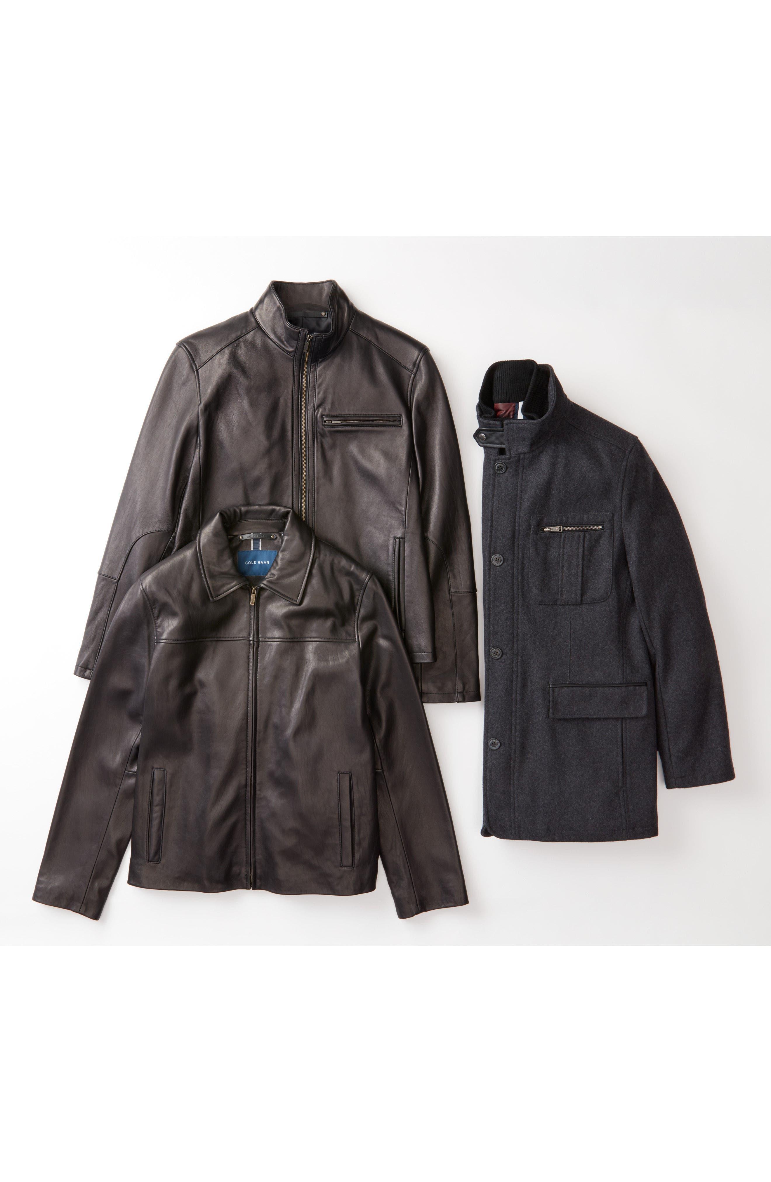 COLE HAAN, Lambskin Leather Moto Jacket, Alternate thumbnail 6, color, BLACK