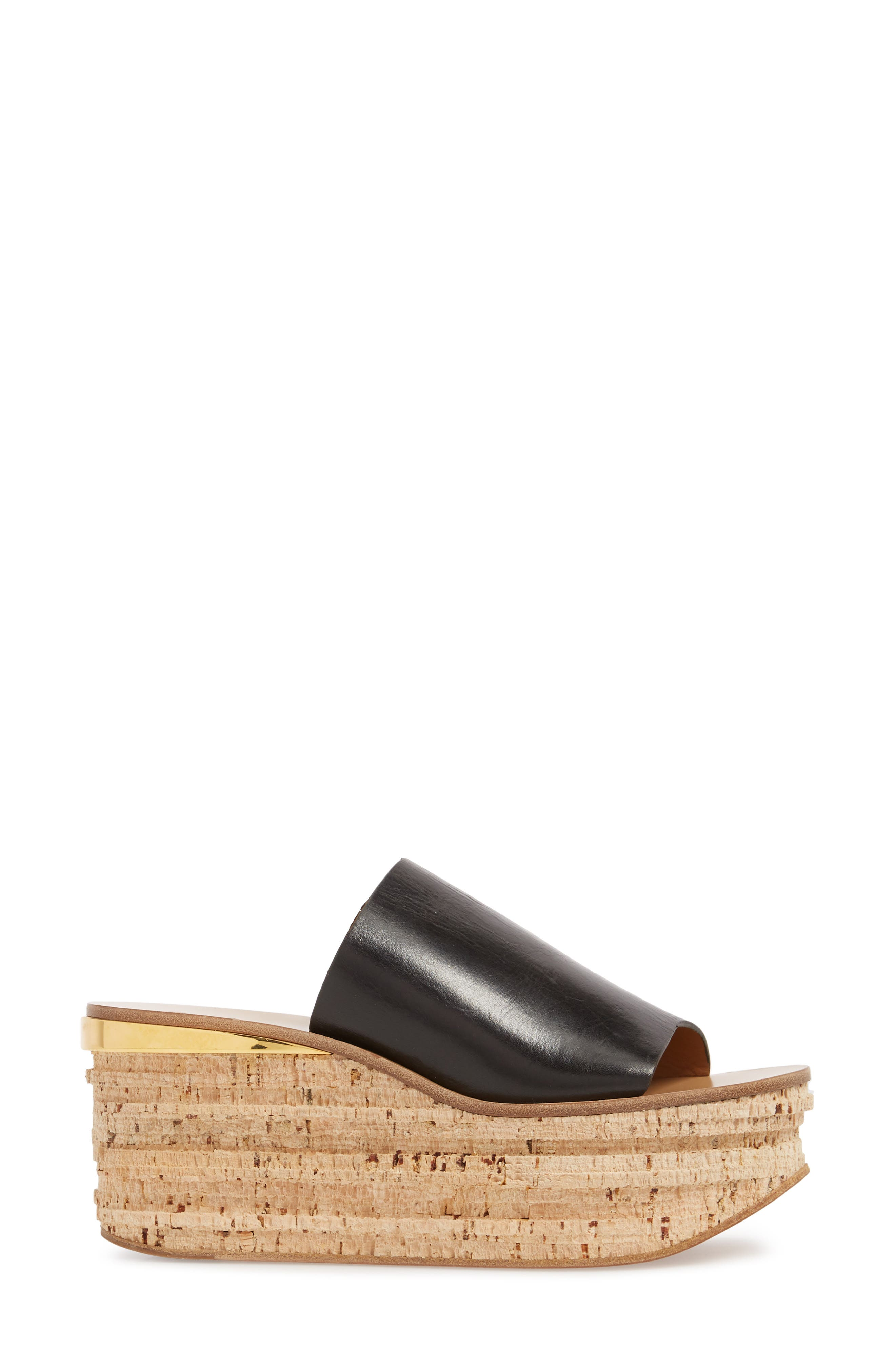 CHLOÉ, Camille Cork Platform Sandal, Alternate thumbnail 3, color, BLACK