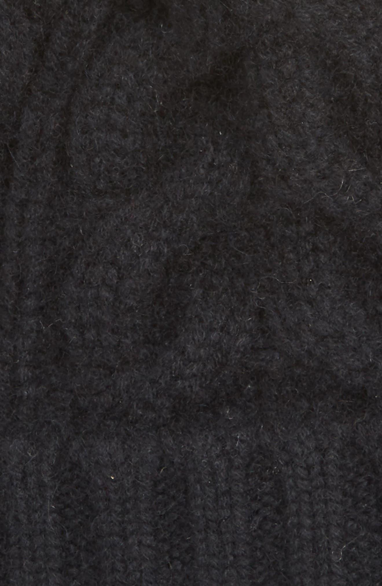 HALOGEN<SUP>®</SUP>, Cashmere Cable Knit Beanie with Faux Fur Pom, Alternate thumbnail 2, color, 001