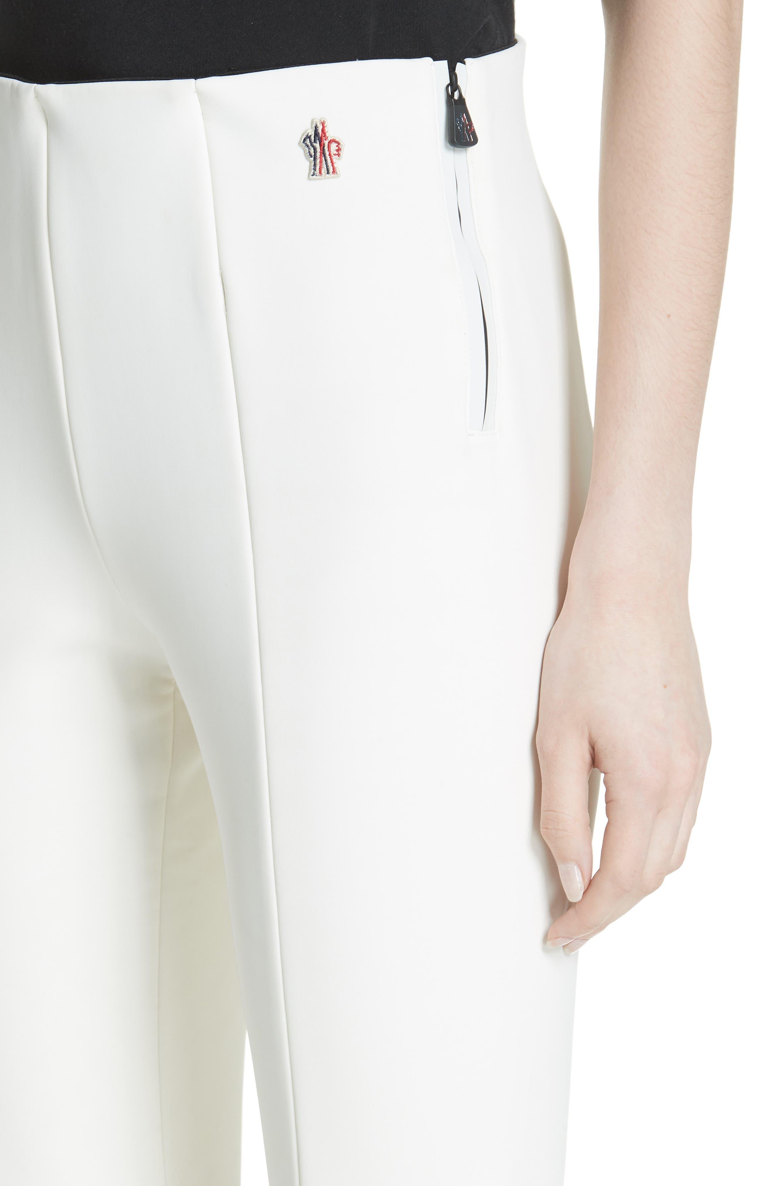 MONCLER, Skinny Stretch Ski Pants, Alternate thumbnail 4, color, WHITE
