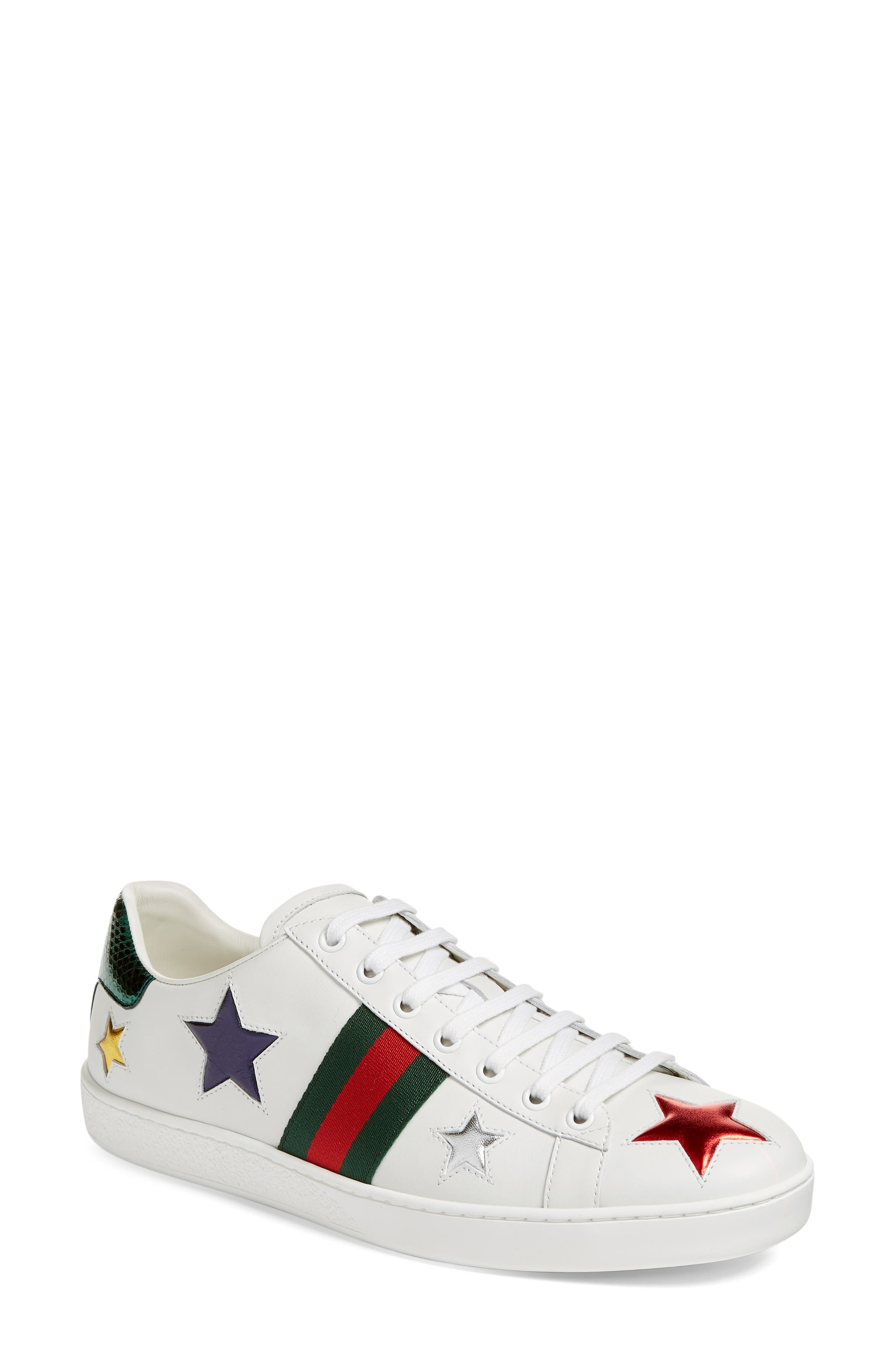 GUCCI New Ace Star Sneaker, Main, color, WHITE MULTI