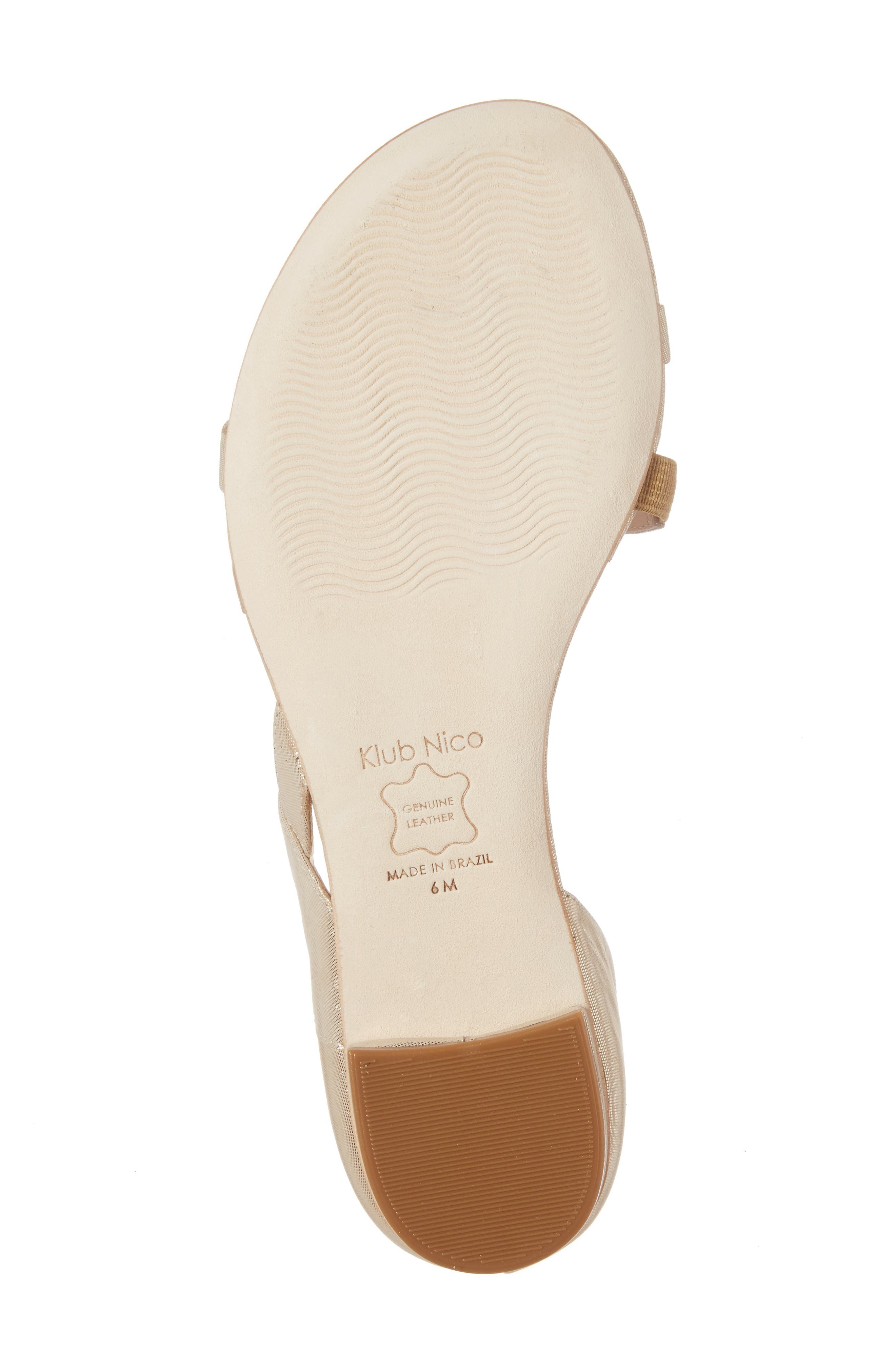 KLUB NICO, Jeanne Sandal, Alternate thumbnail 6, color, CHAMPAGNE LEATHER