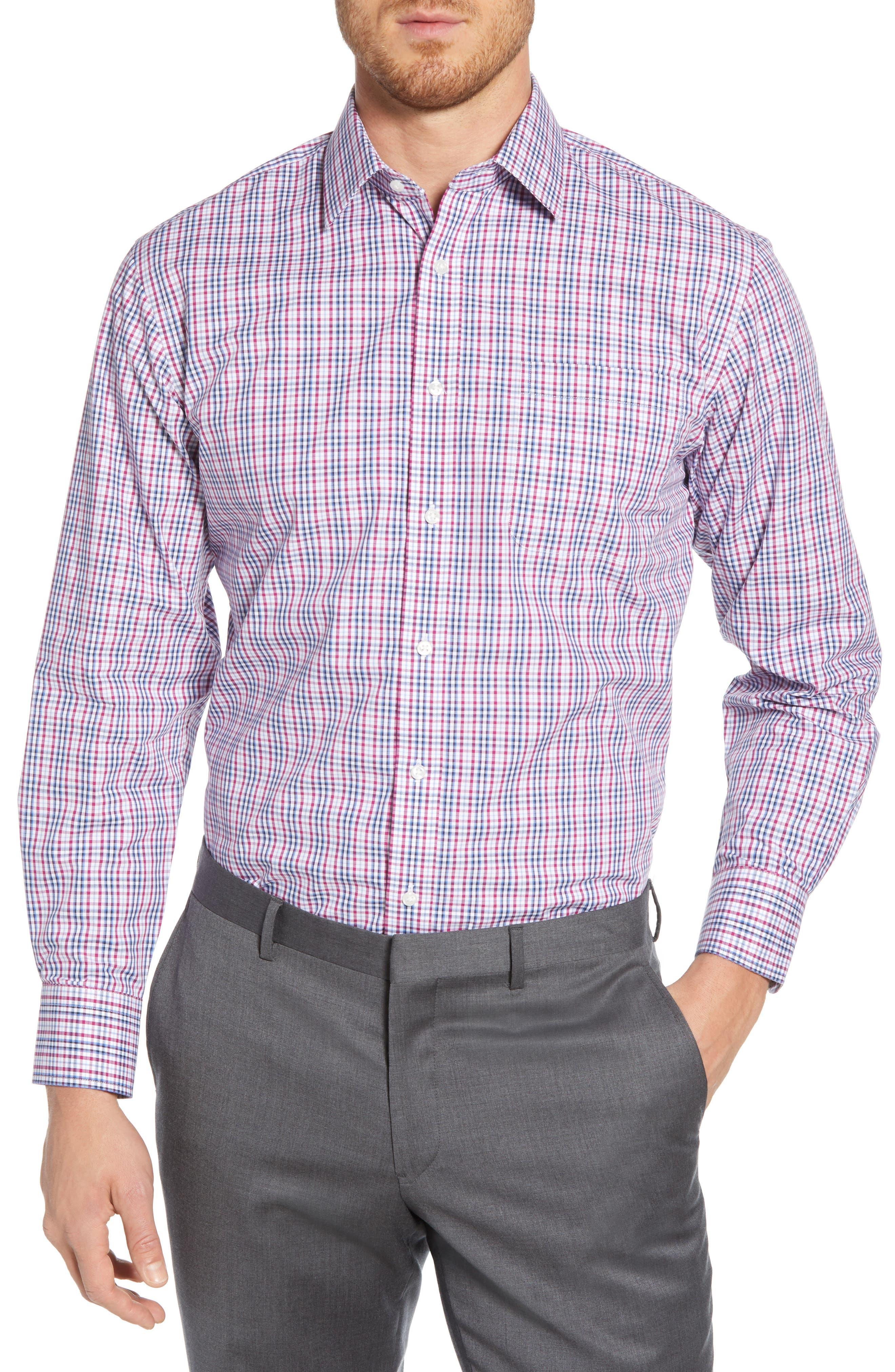 NORDSTROM MEN'S SHOP Traditional Fit Non-Iron Plaid Dress Shirt, Main, color, PURPLE BOYSEN