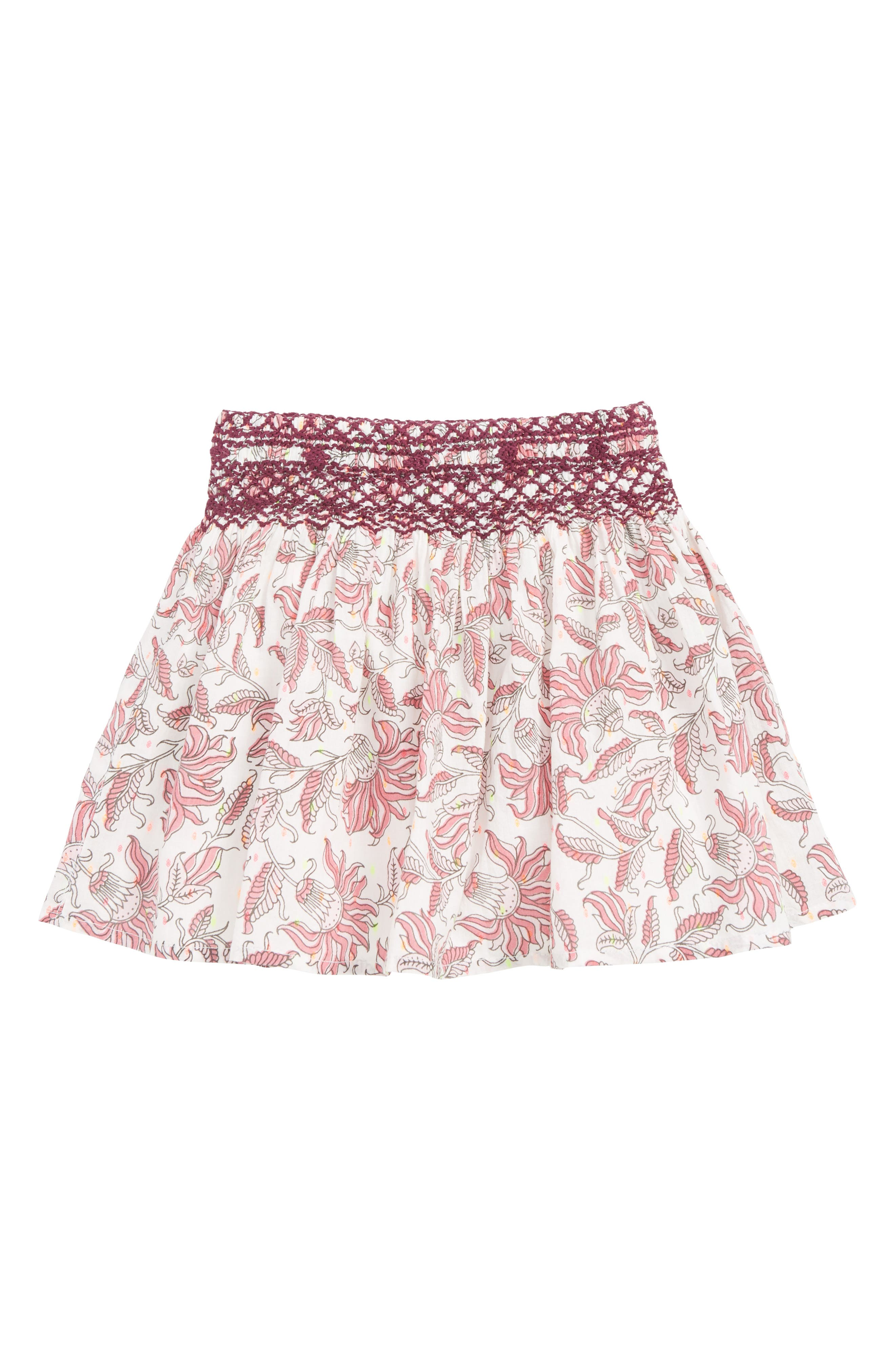 PEEK AREN'T YOU CURIOUS, Peek Floral Pixie Skirt, Main thumbnail 1, color, PINK