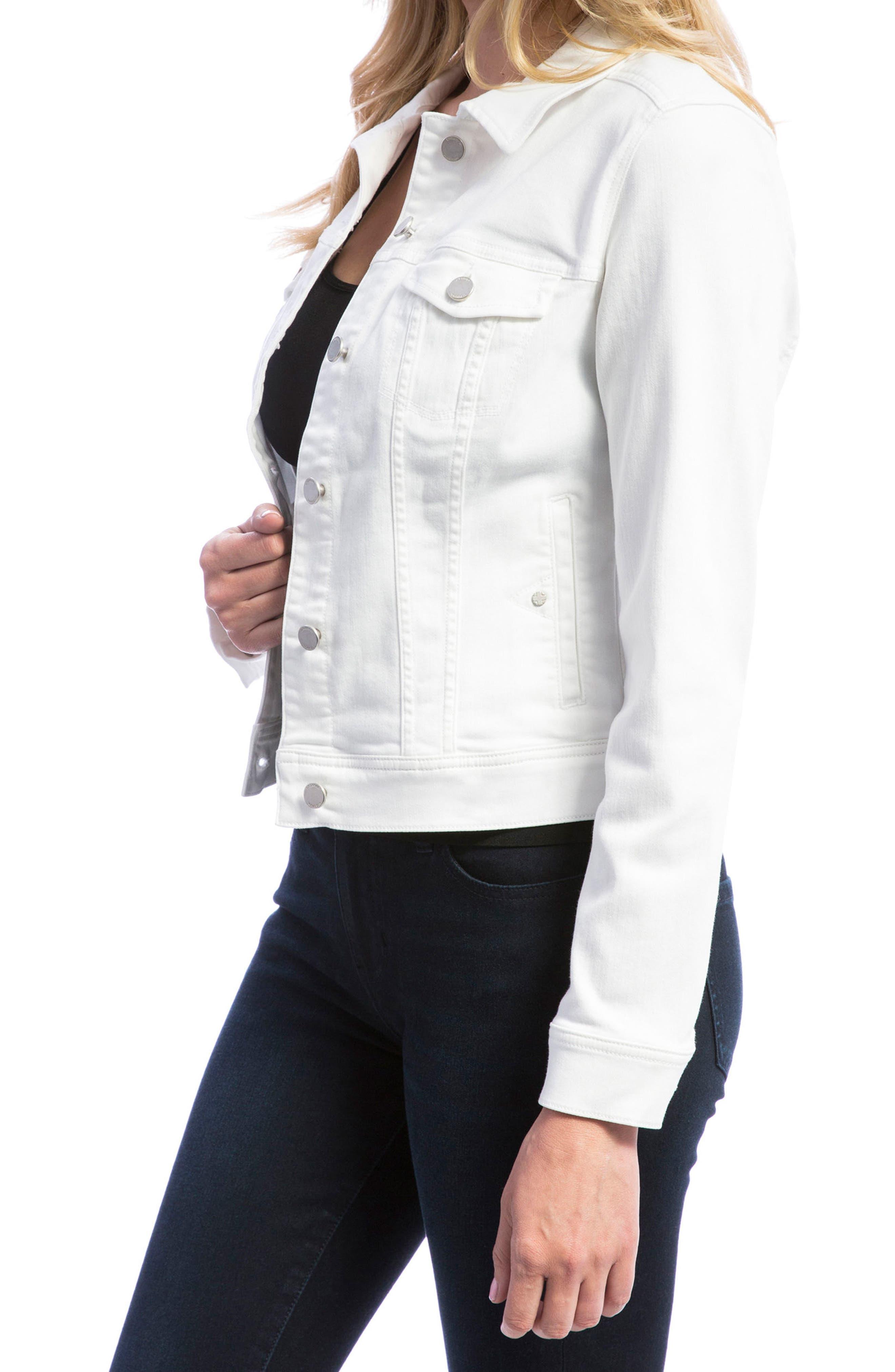LIVERPOOL, Denim Jacket, Alternate thumbnail 3, color, BRIGHT WHITE