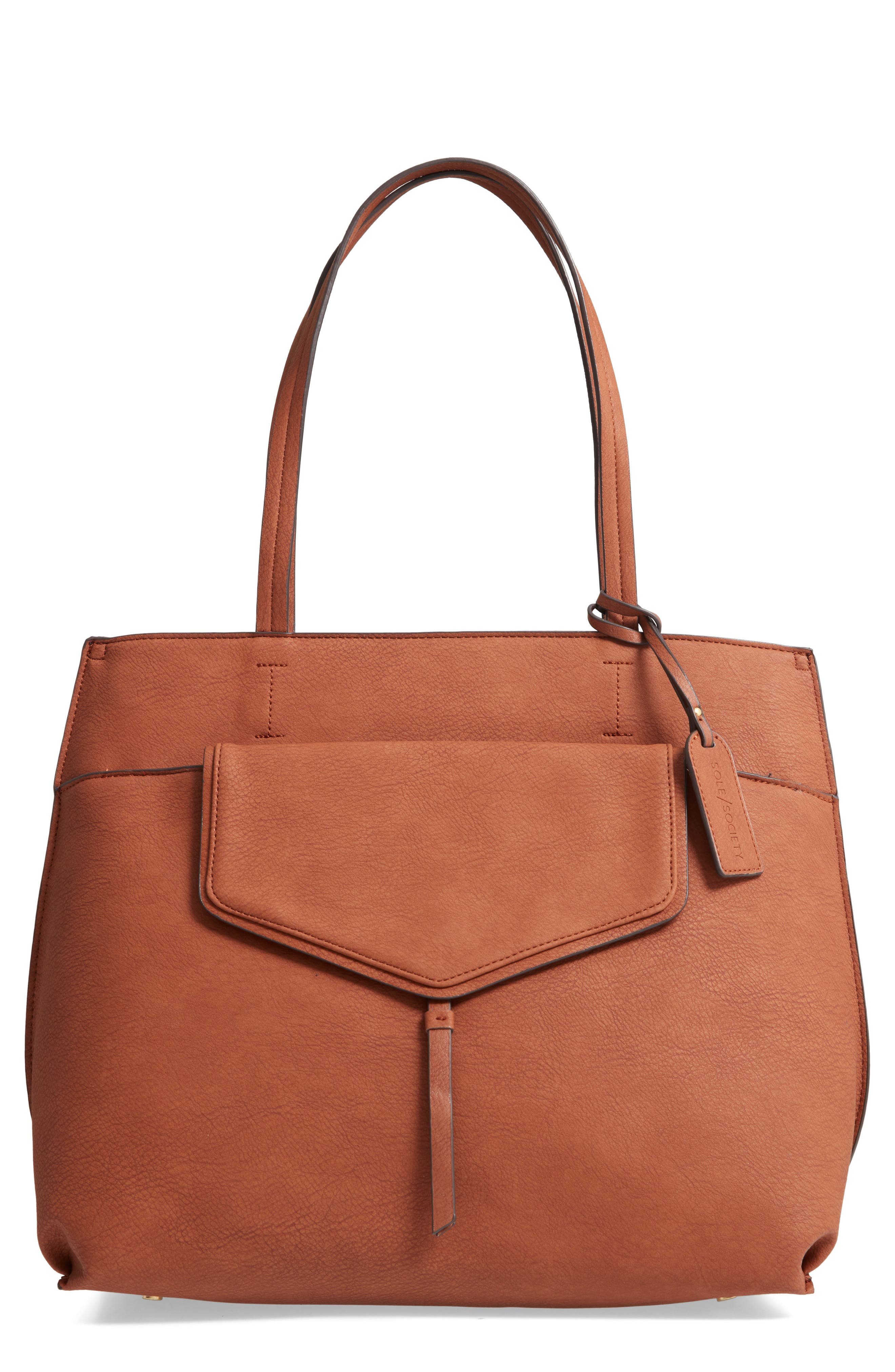 SOLE SOCIETY, Lyndi Faux Leather Tote, Main thumbnail 1, color, COGNAC