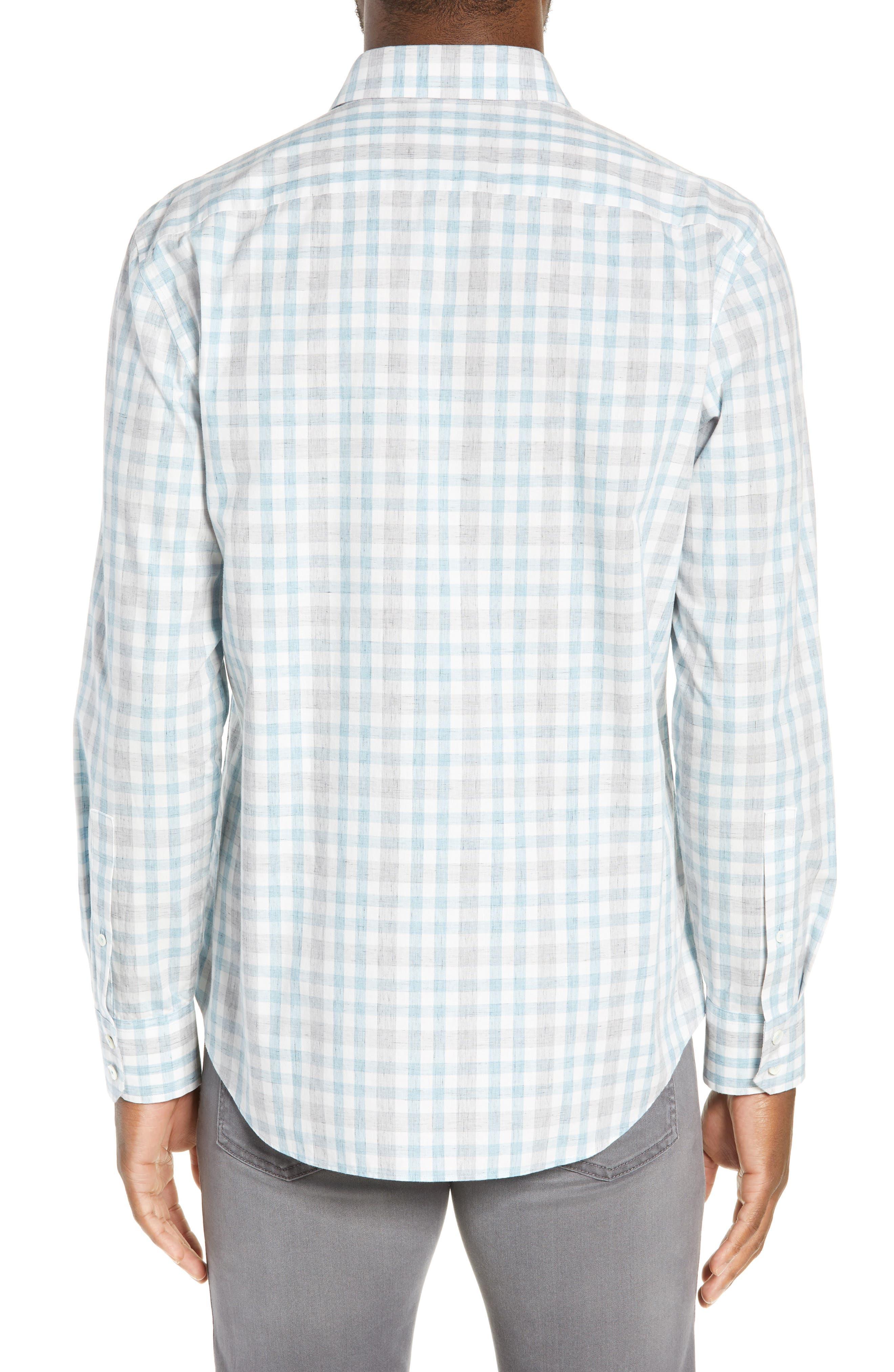 ZACHARY PRELL, Regular Fit Plaid Sport Shirt, Alternate thumbnail 3, color, LIGHT BLUE