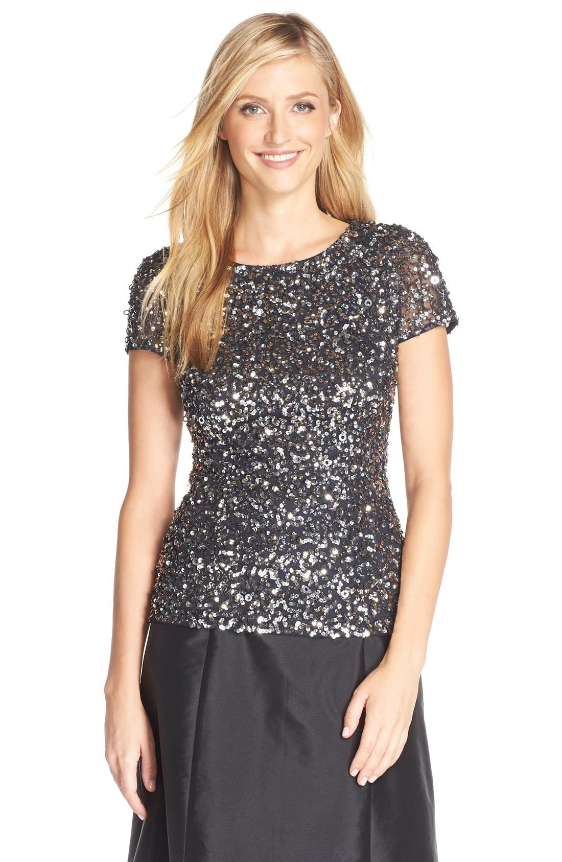ADRIANNA PAPELL, Sequin Mesh Top, Main thumbnail 1, color, 020