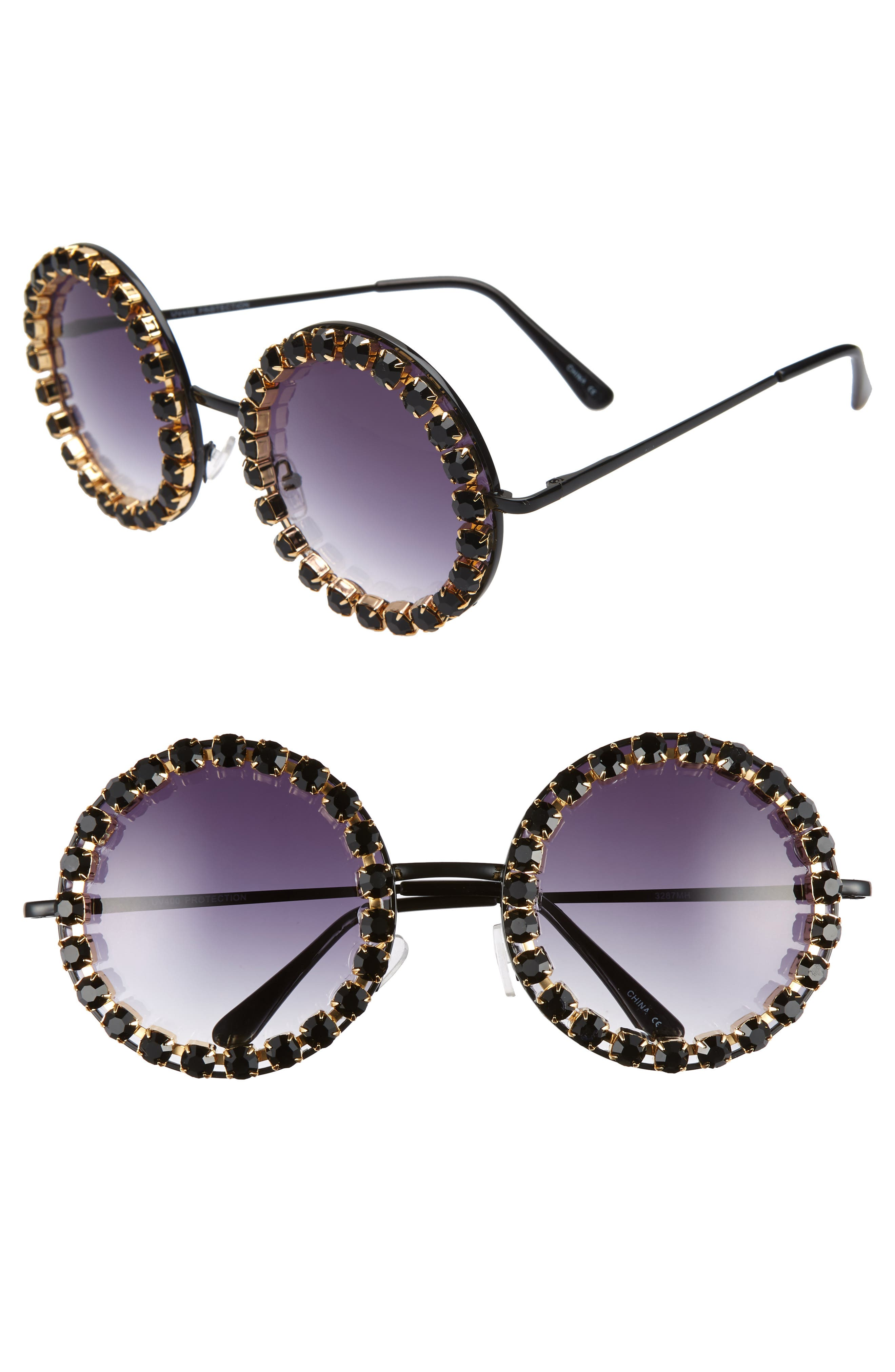 RAD + REFINED Rhinestone Round Sunglasses, Main, color, BLACK