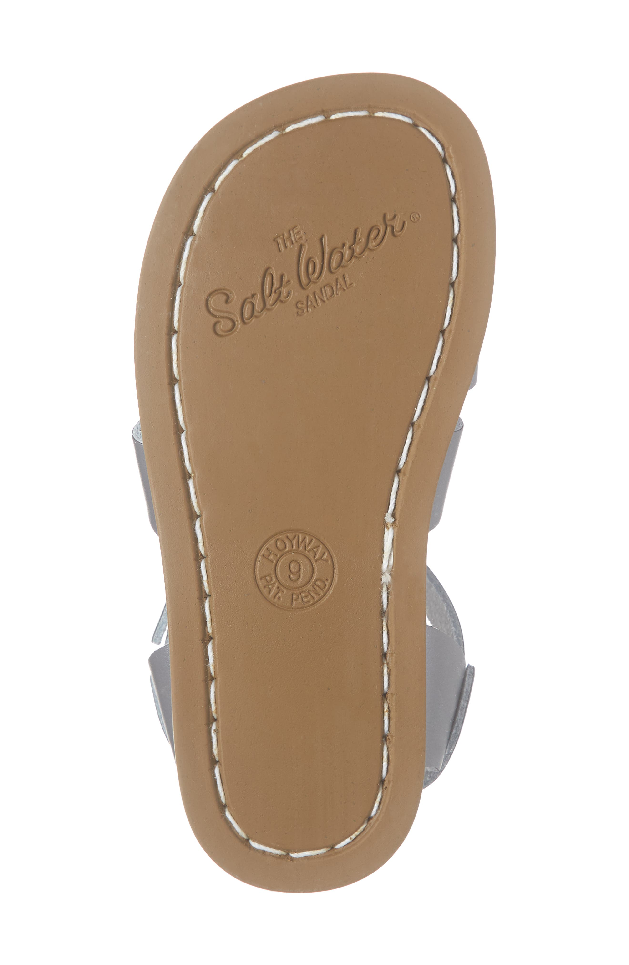 SALT WATER SANDALS BY HOY, Water Friendly Sandal, Alternate thumbnail 6, color, PEWTER