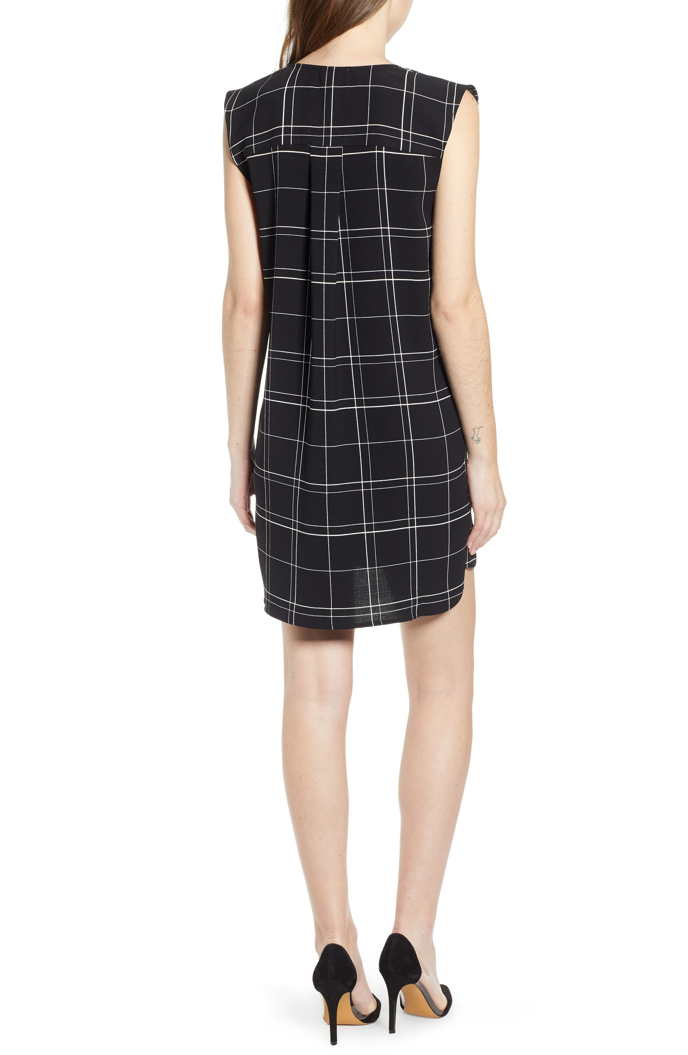 LEITH, Everyday Dress, Alternate thumbnail 2, color, BLACK GLAM CITY CHECK
