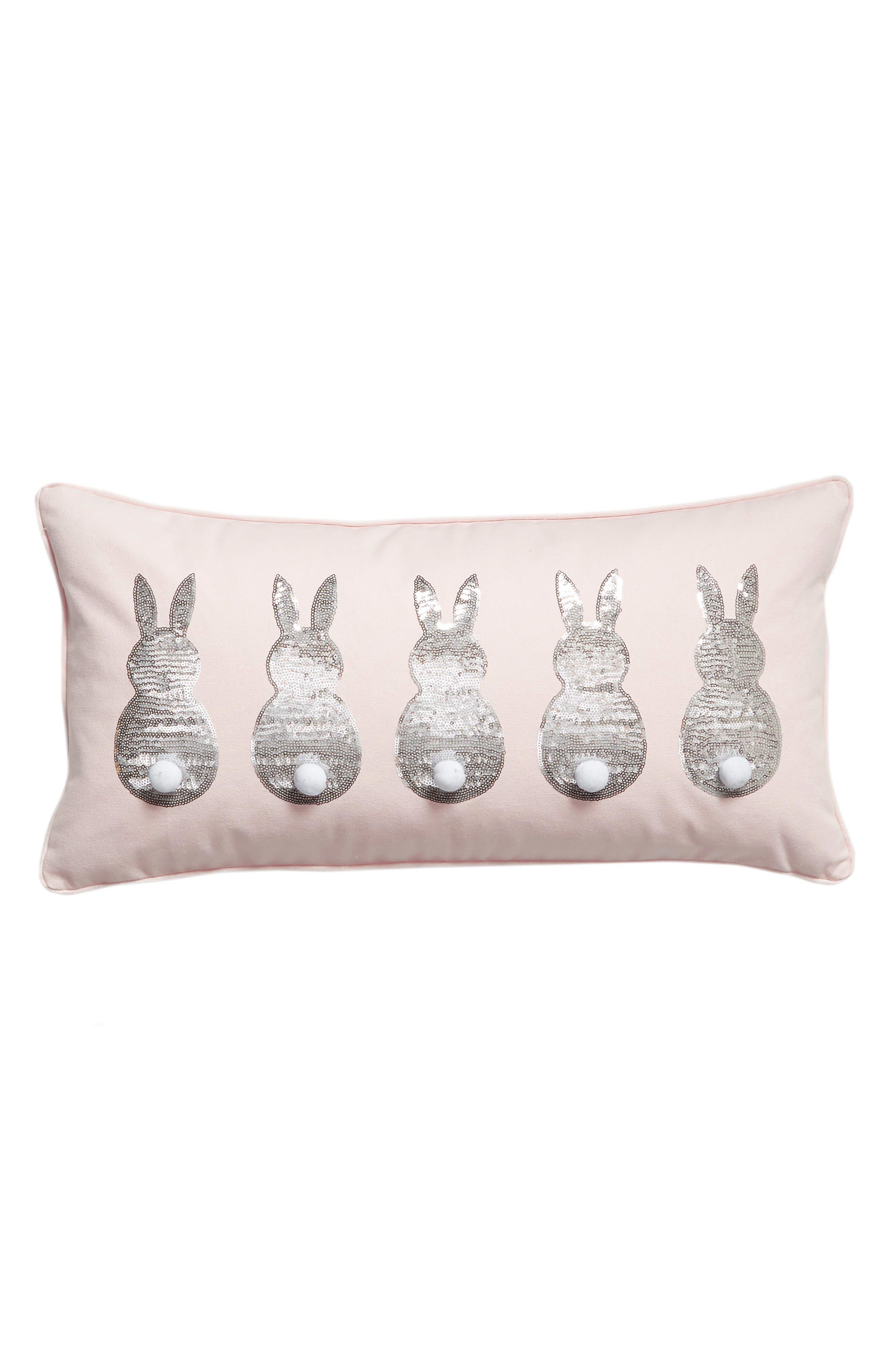 LEVTEX Sequin Bunnies Accent Pillow, Main, color, 650