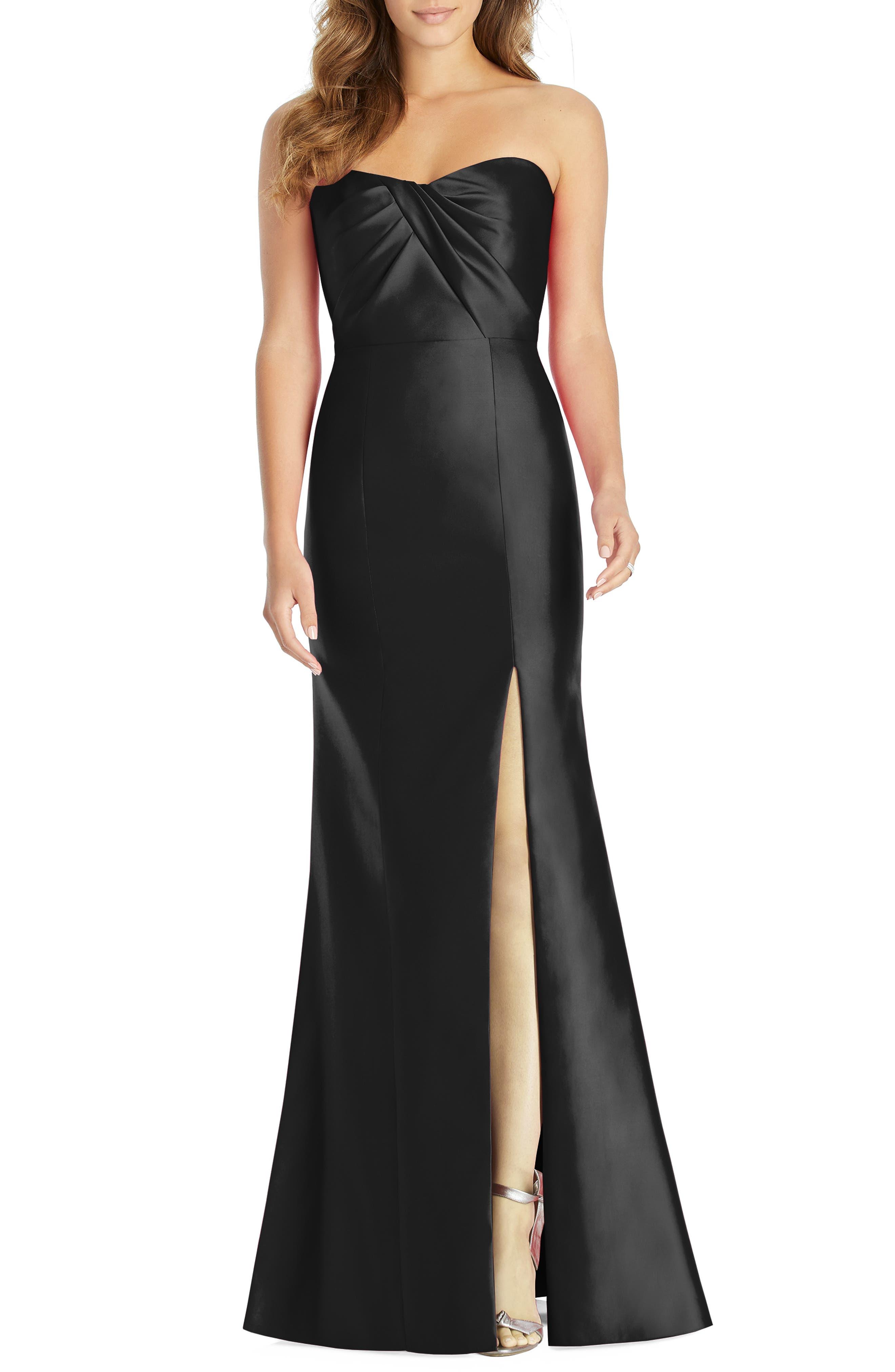 Alfred Sung Sateen Twill Strapless Sweetheart Neckline Gown, Black