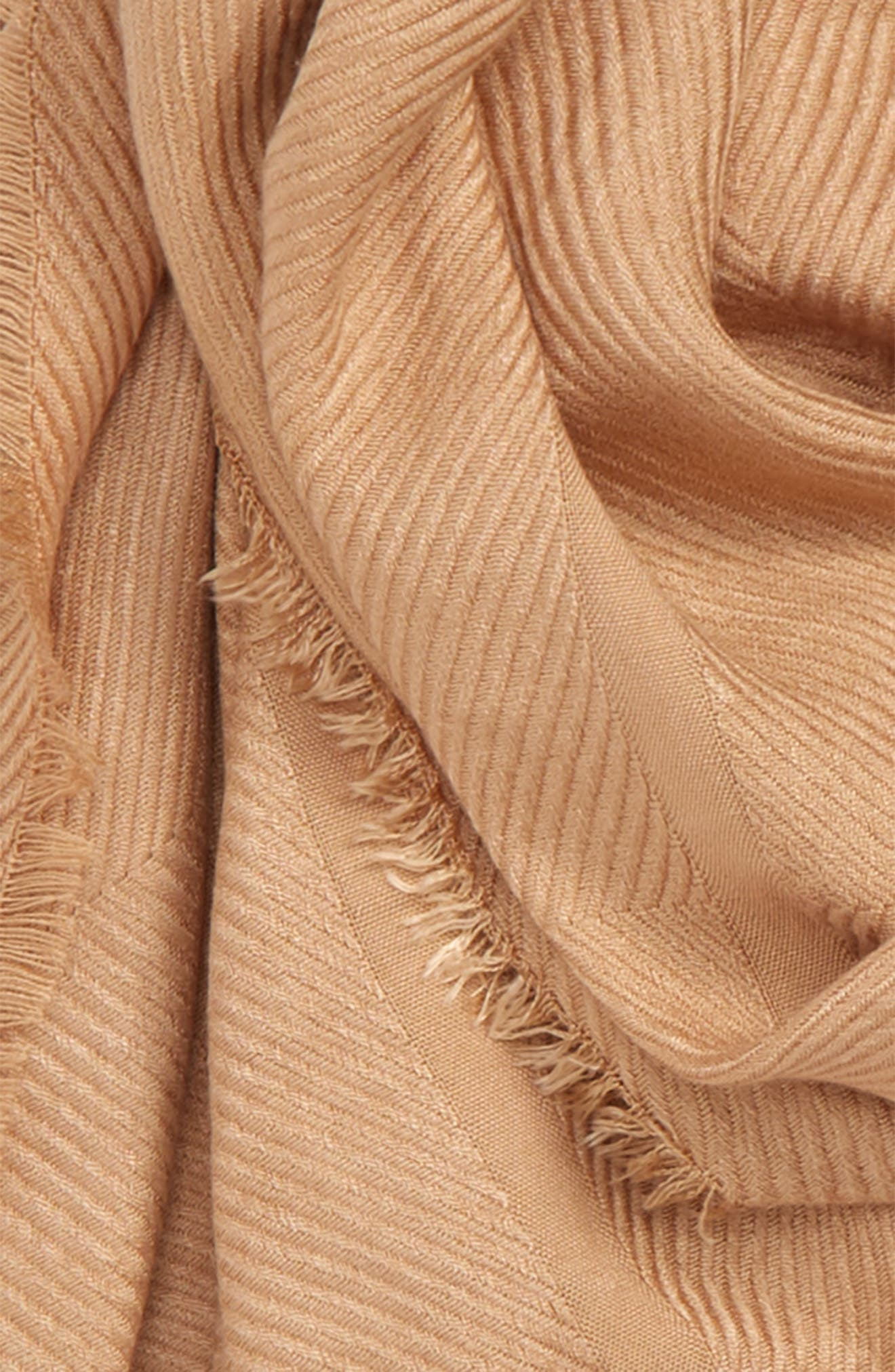 SOLE SOCIETY, Raw Edge Scarf, Alternate thumbnail 3, color, CAMEL