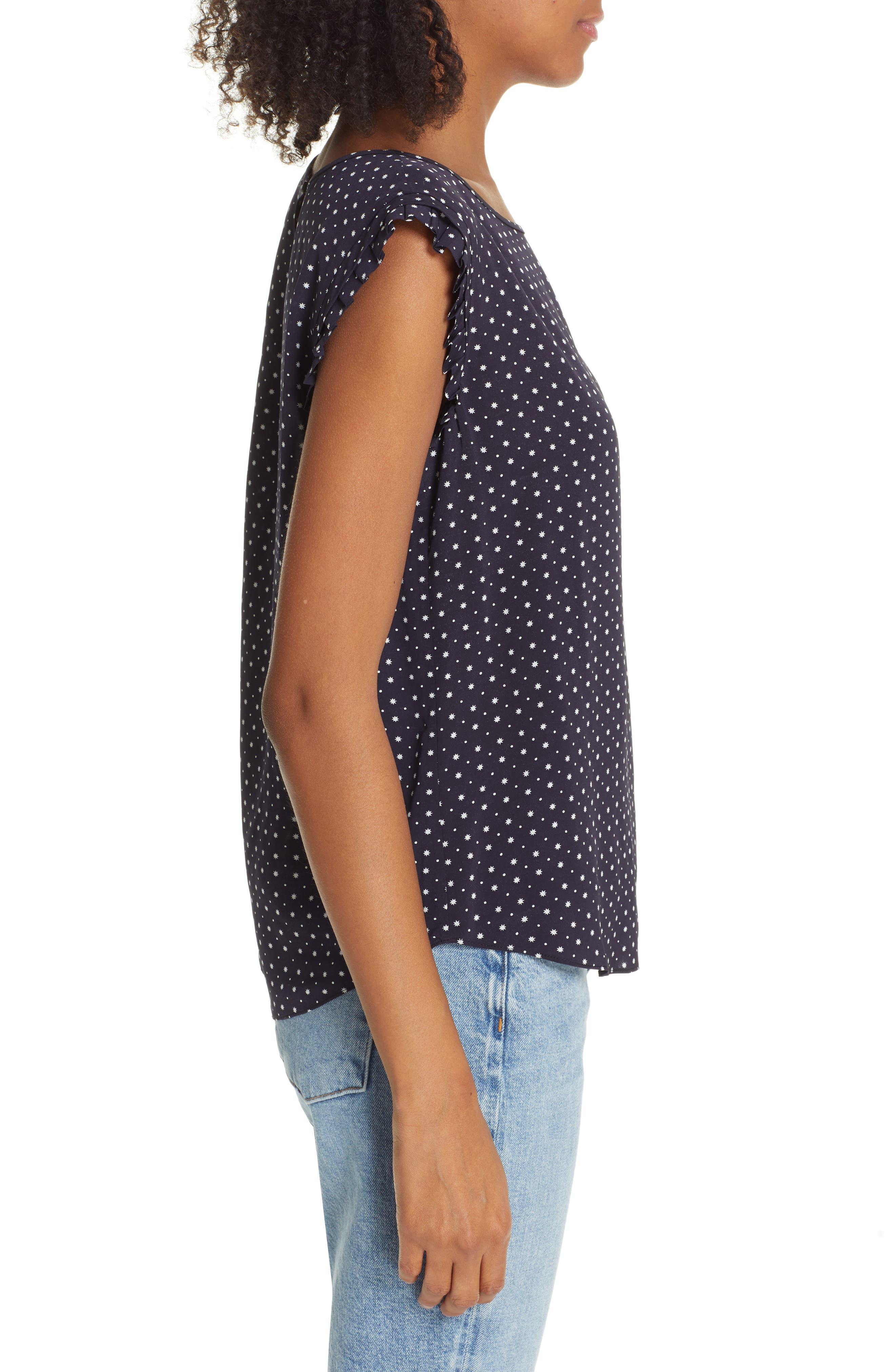 JOIE, Laurelle Print Woven Top, Alternate thumbnail 3, color, 410