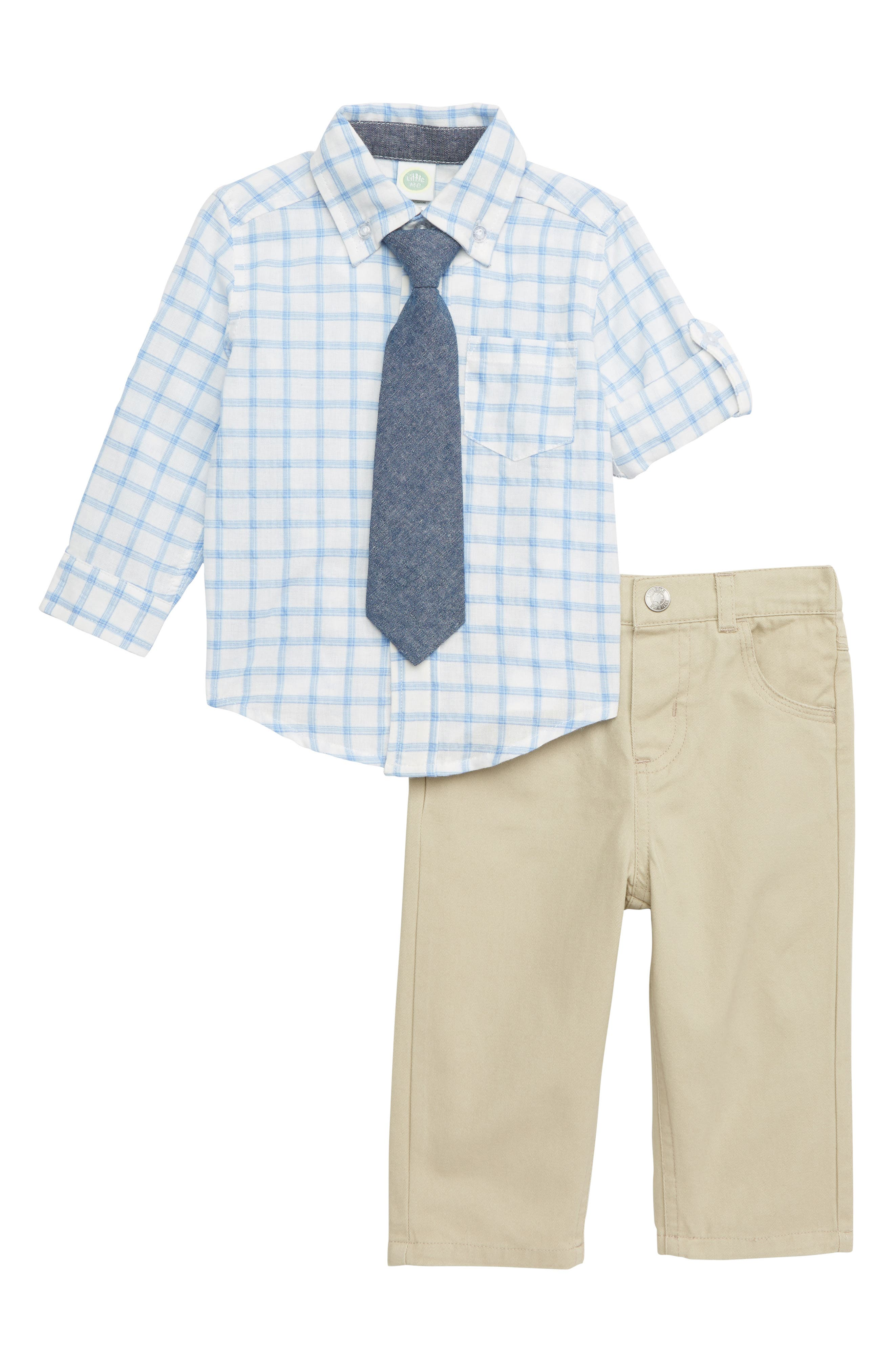 LITTLE ME, Tattersall Plaid Shirt, Pants & Tie Set, Main thumbnail 1, color, 250