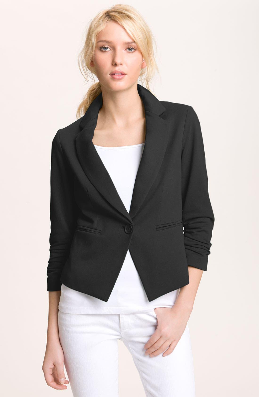 GIBSON, One Button Fleece Blazer, Main thumbnail 1, color, 001