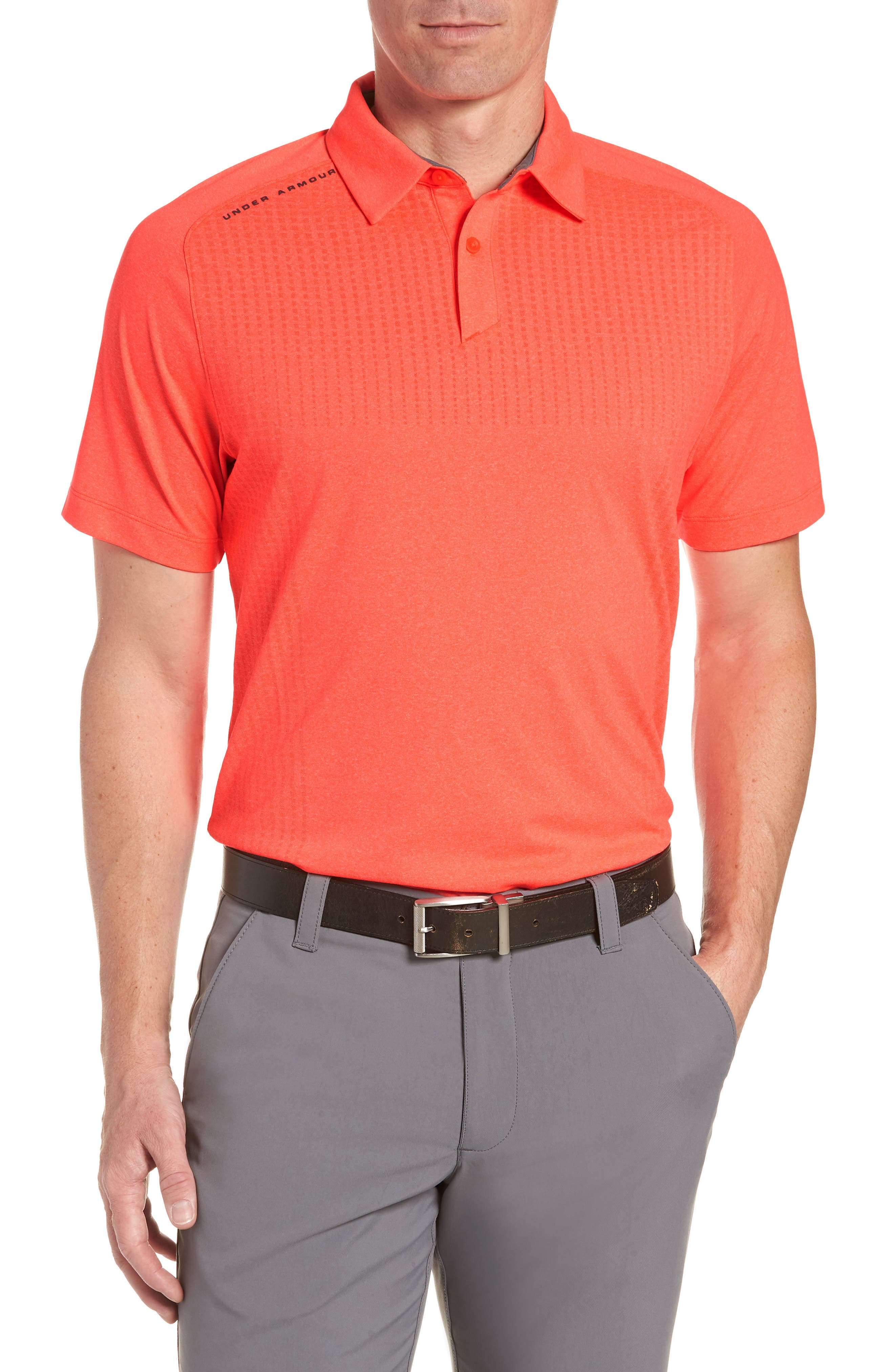 UNDER ARMOUR, Threadborne Outer Glow Regular Fit Polo Shirt, Main thumbnail 1, color, NEON CORAL LIGHT/ HEATHER