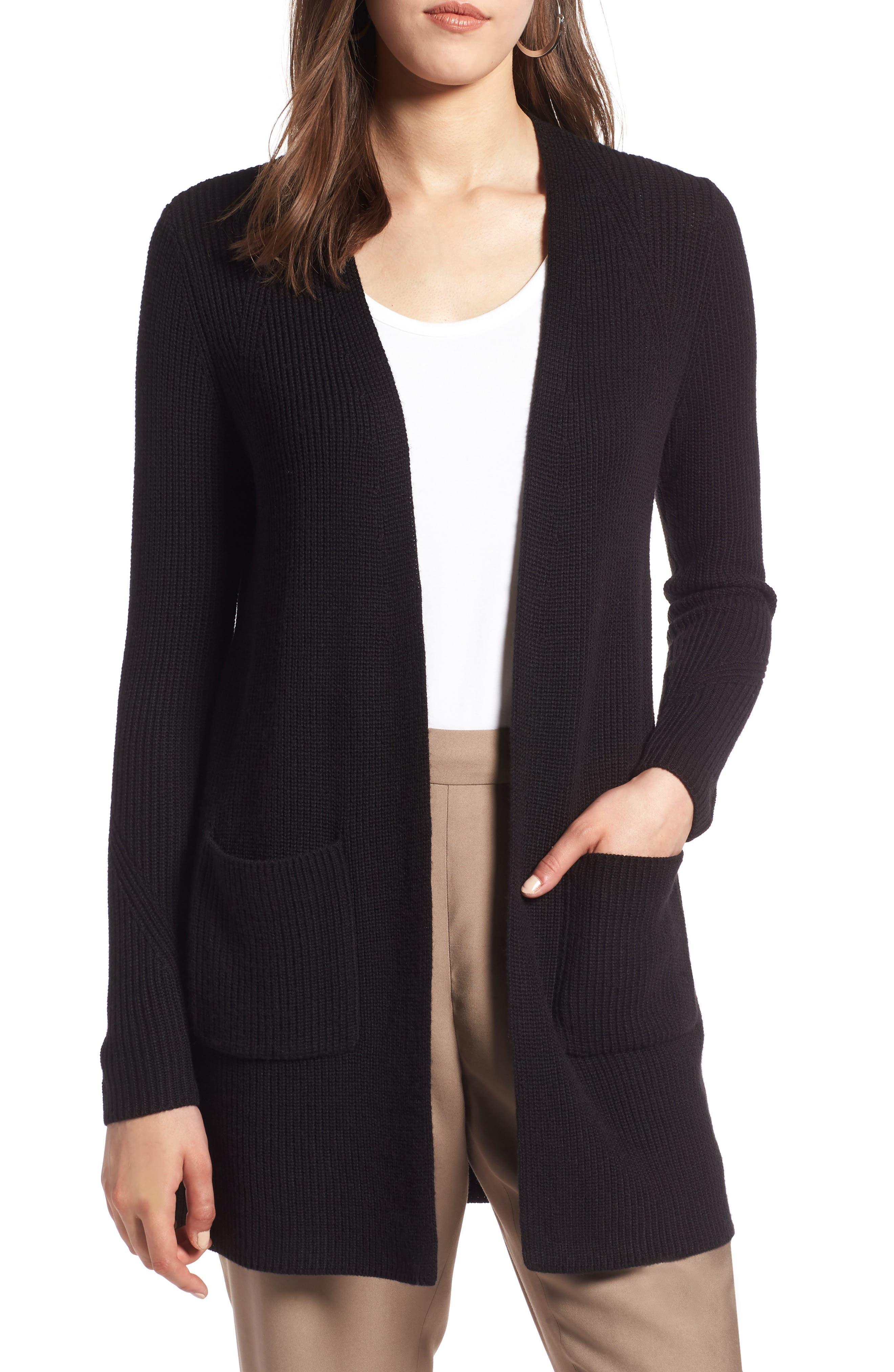 HALOGEN<SUP>®</SUP> Long Ribbed Cardigan, Main, color, BLACK