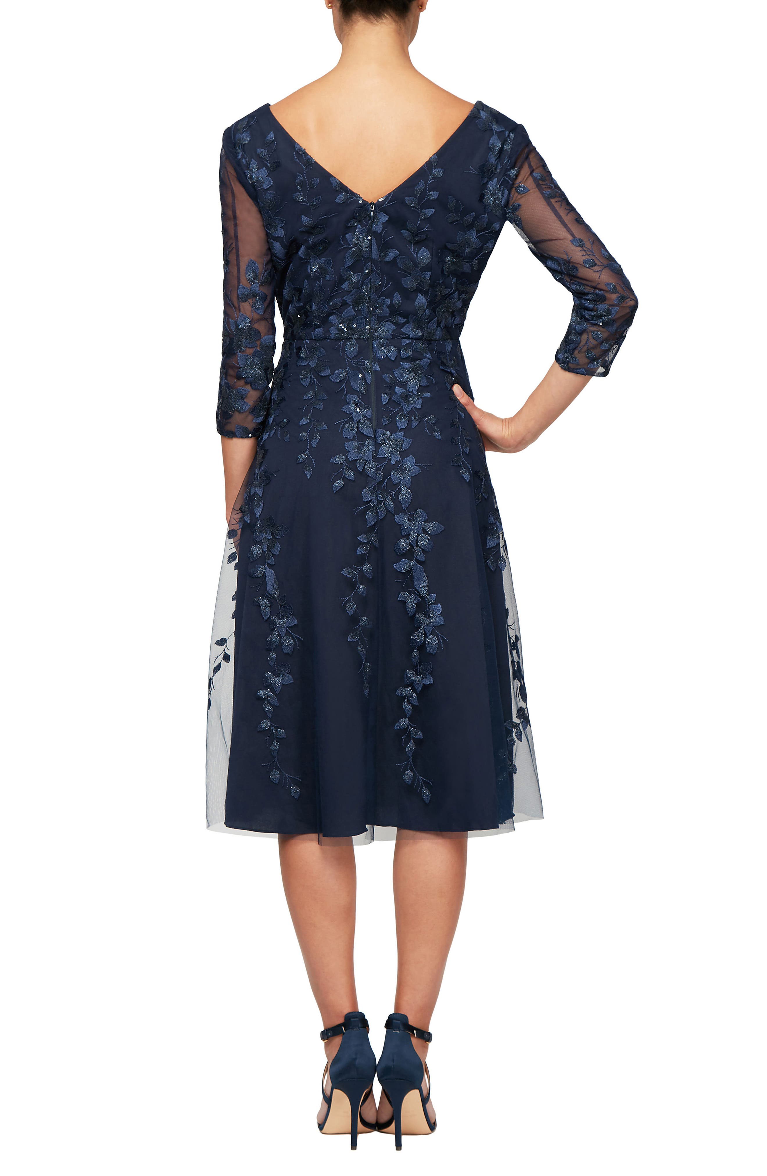 ALEX EVENINGS, V-Neck Embroidered Mesh Cocktail Dress, Alternate thumbnail 2, color, 410